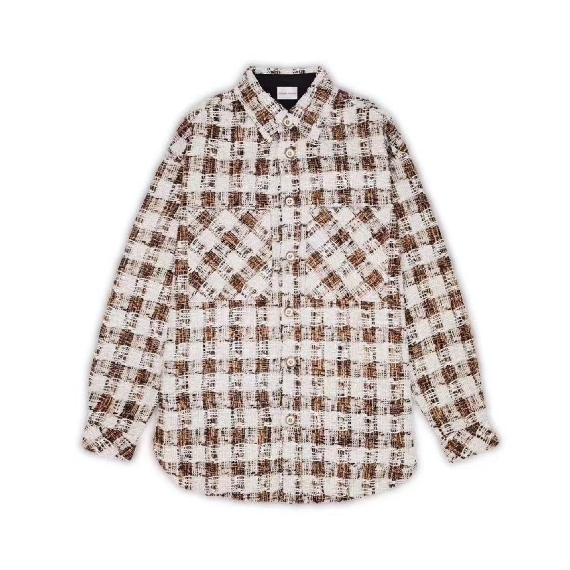CHARLIE LUCIANO Tweed Overshirt Brown | MADA IN CHINA
