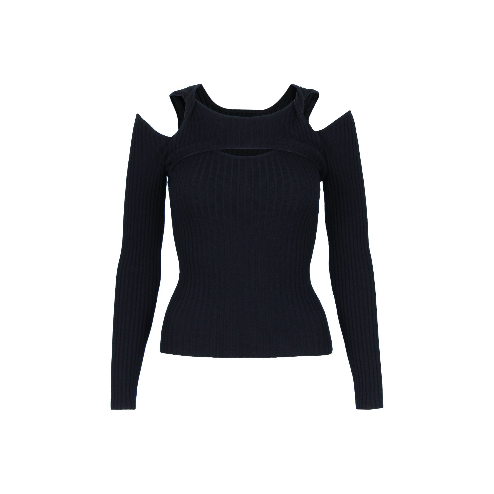 CALVIN LUO Twisted Shoulder Knitted Top Black | MADA IN CHINA