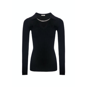 DIANA VEVINA V-Neck Chain Sweatshirt Black | MADA IN CHINA
