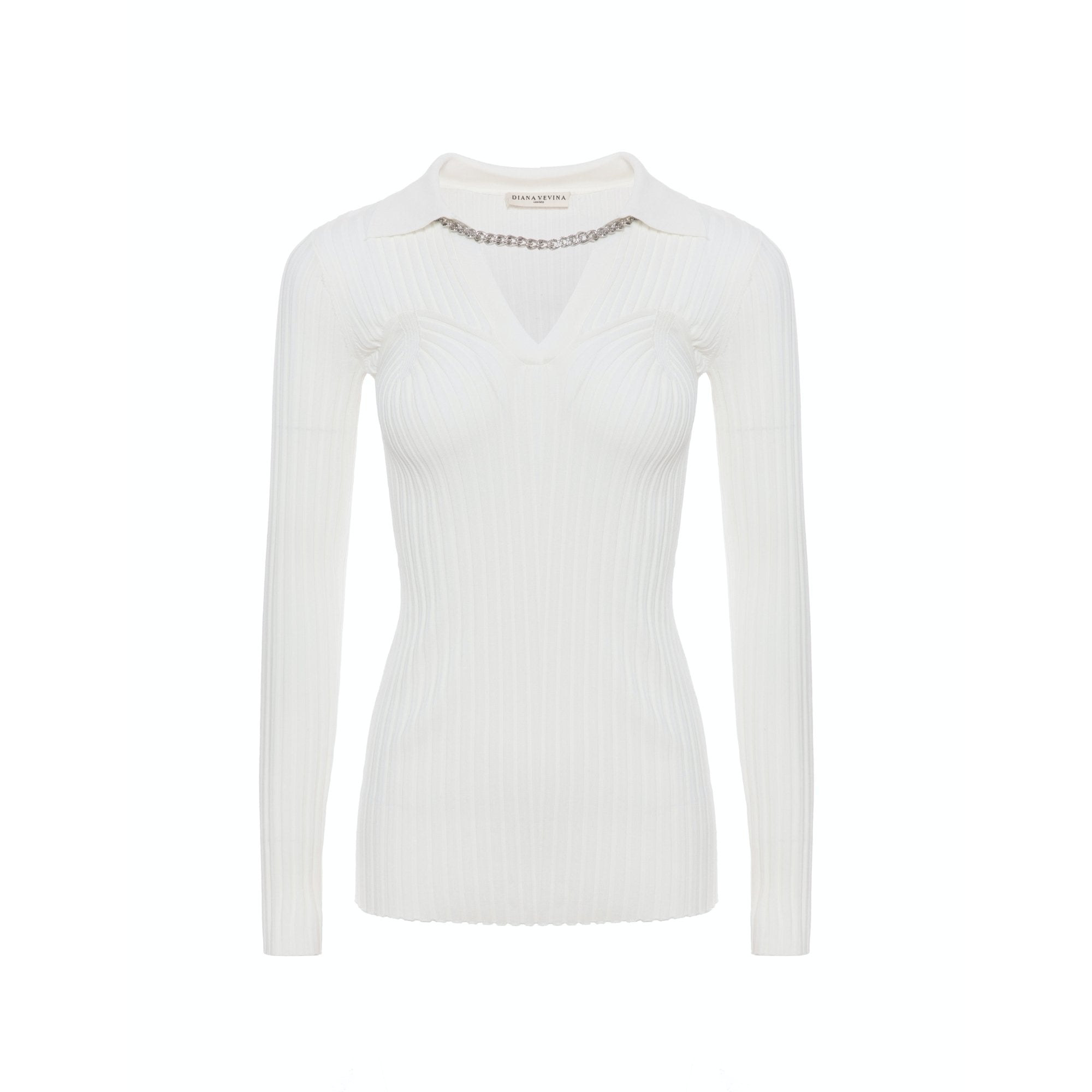 DIANA VEVINA V-Neck Chain Sweatshirt White | MADA IN CHINA
