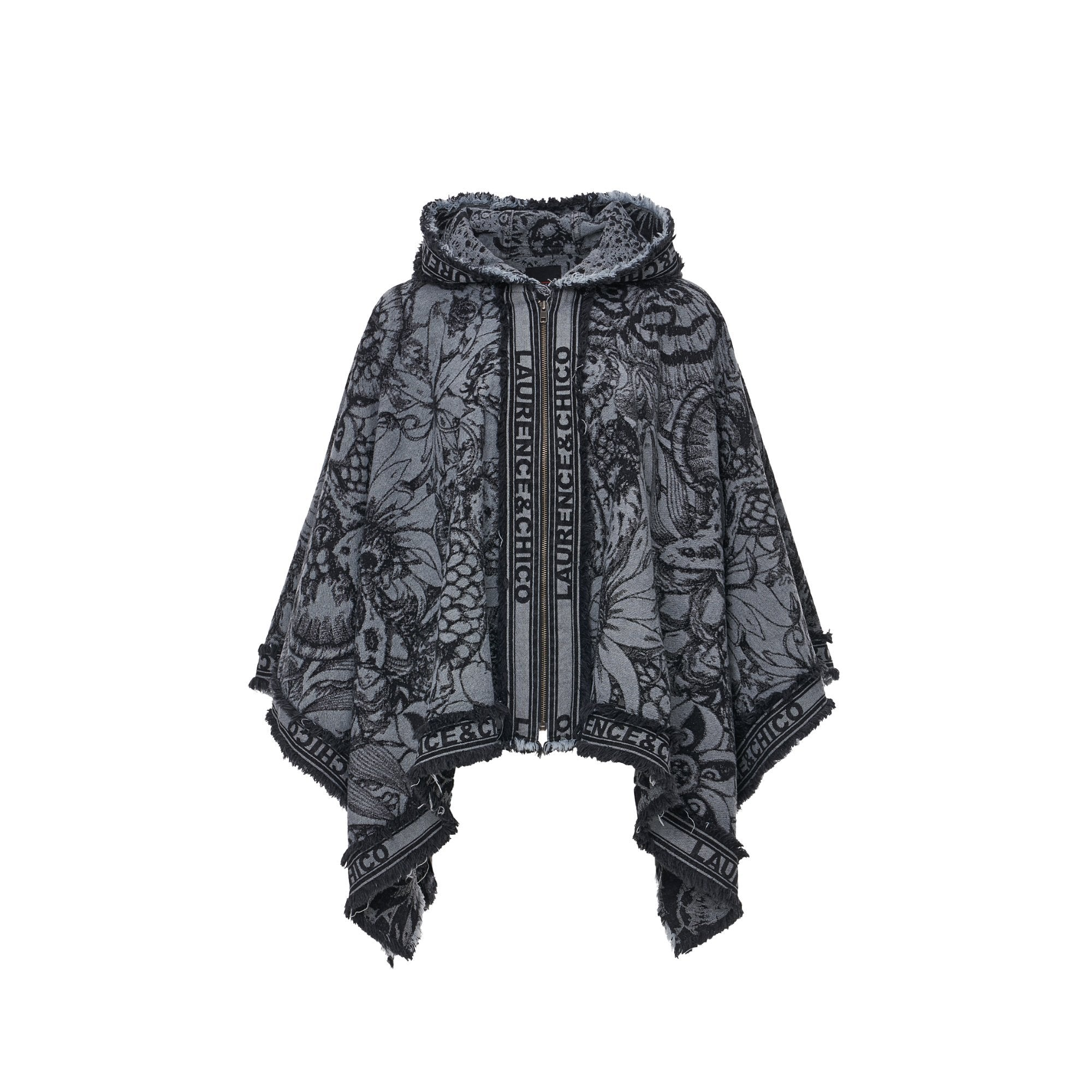 Laurence & Chico Van Dusen Garden Denim Jacquard Hoodie Poncho With Zipper | MADA IN CHINA