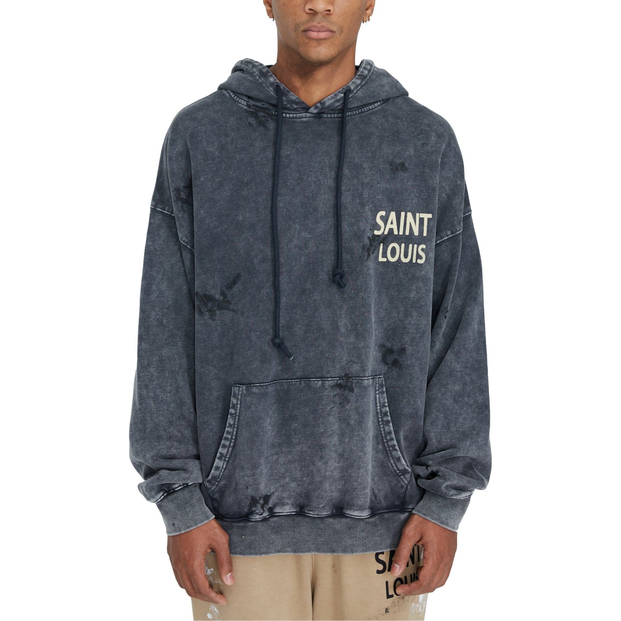SAINT LOUIS Vintage Grey Object Dyded Hoodie | MADA IN CHINA