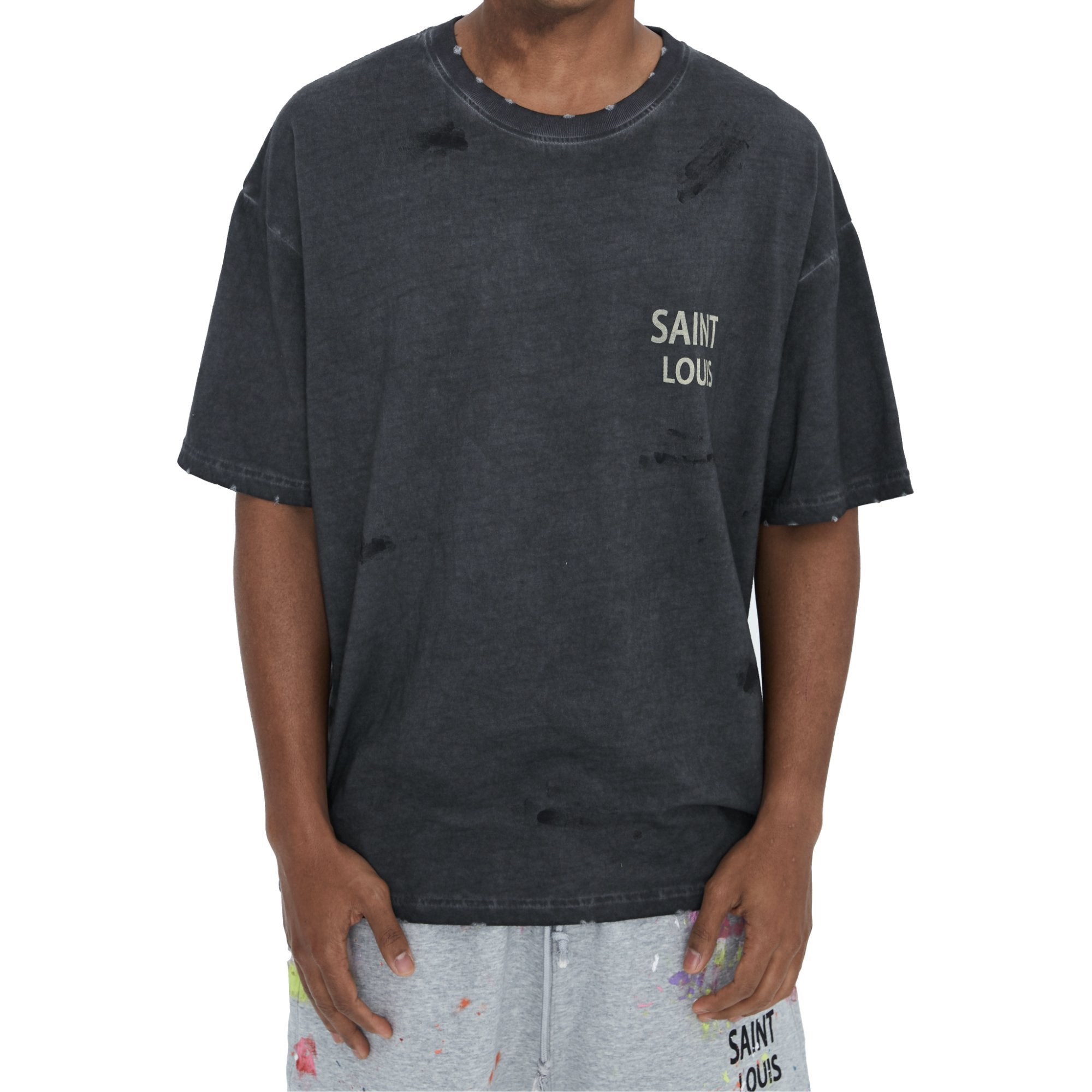 SAINT LOUIS Vintage Object Dyed Tee Black | MADA IN CHINA