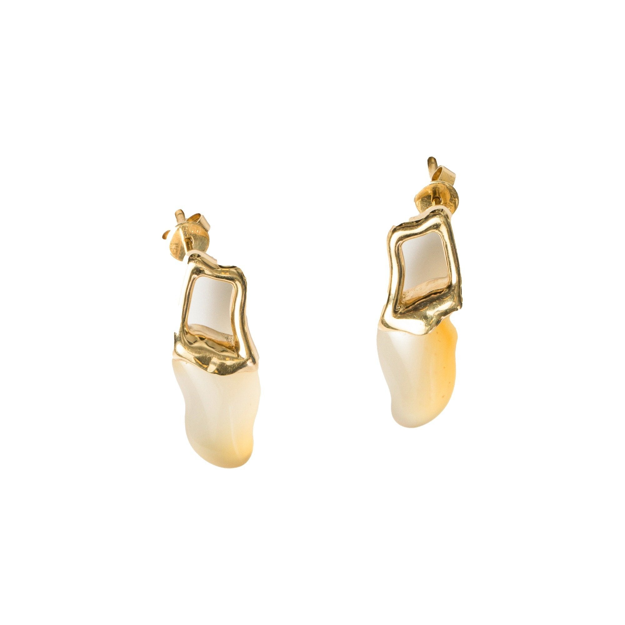 L'ELEMENTO 'Water Collection' Golden Agate Earrings | MADA IN CHINA