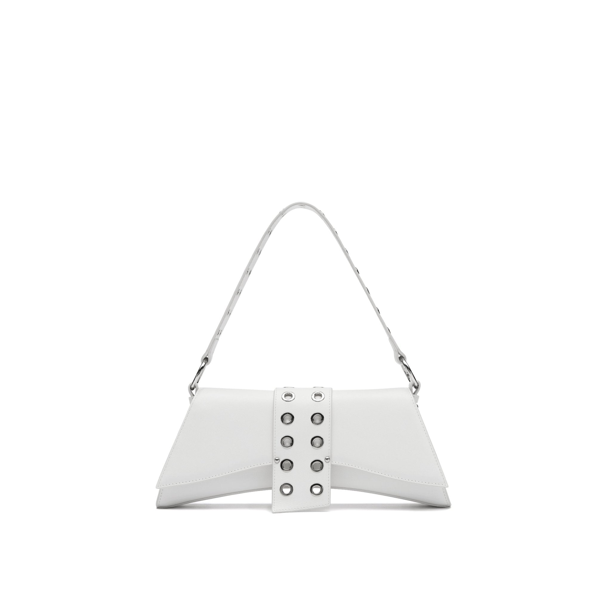 LOST IN ECHO White Barrett Metal Chain Shoulder Bag Large | MADA IN CHINA