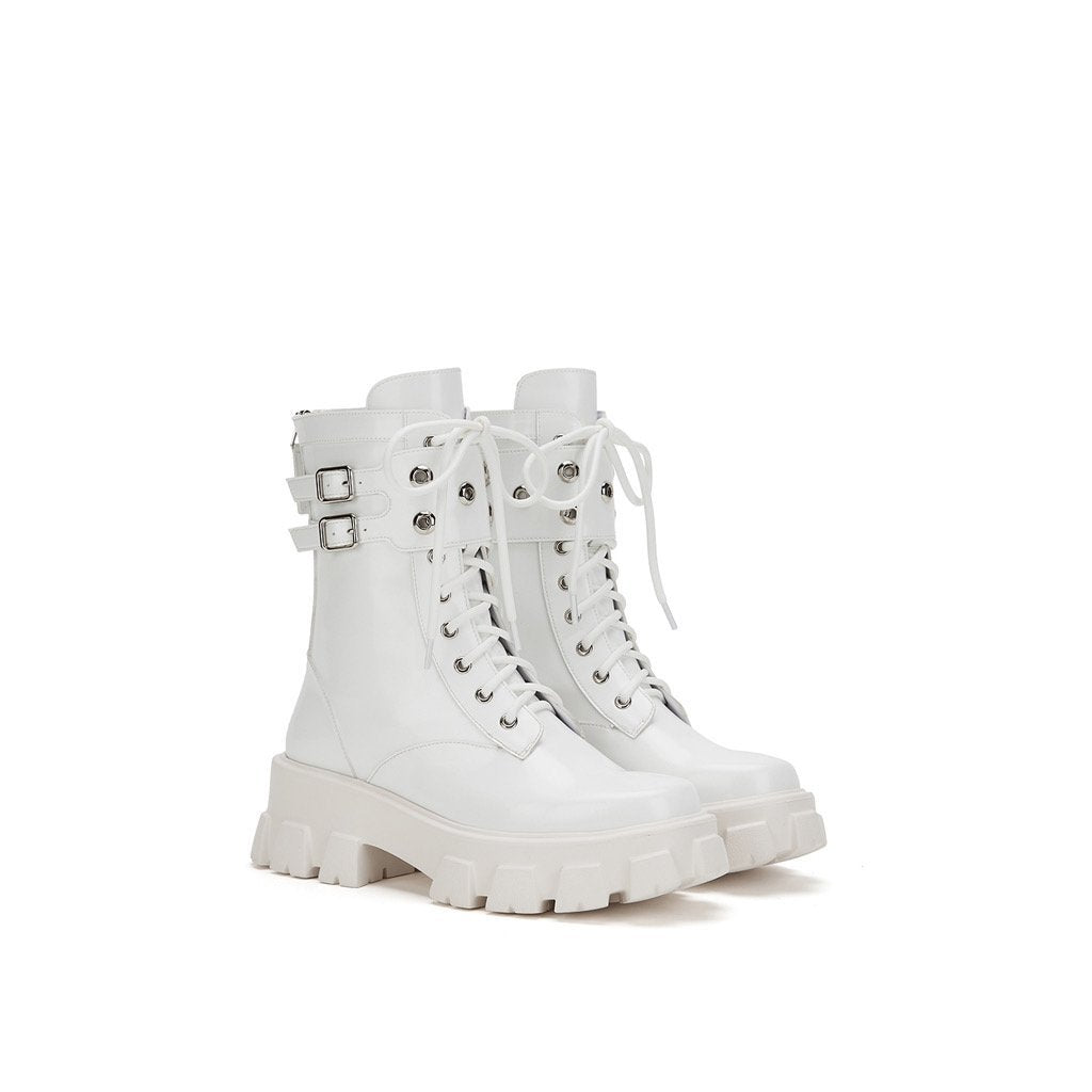 LOST IN ECHO White Belt Platform Boots | MADA IN CHINA