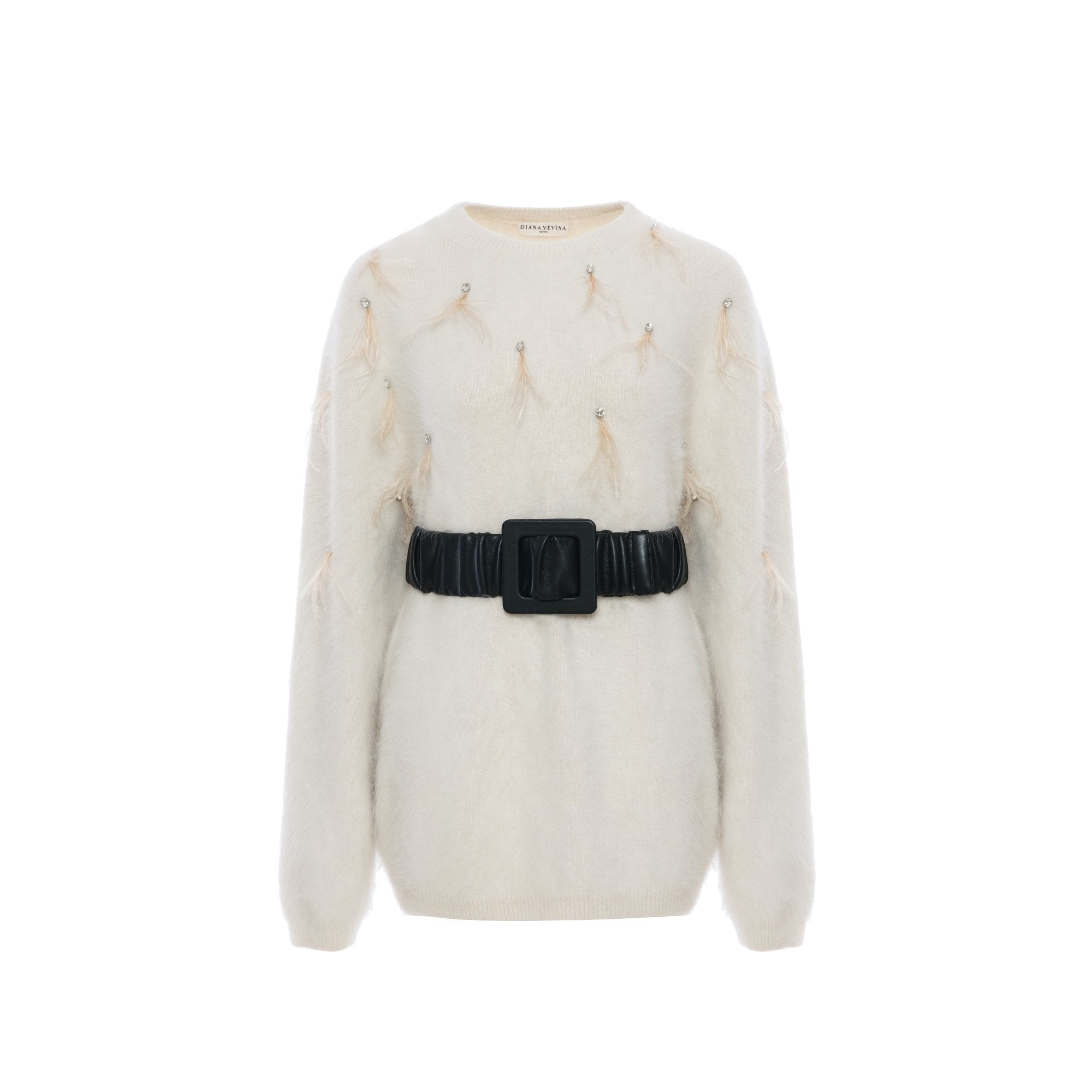 DIANA VEVINA White Belt Sweatshirt | MADA IN CHINA