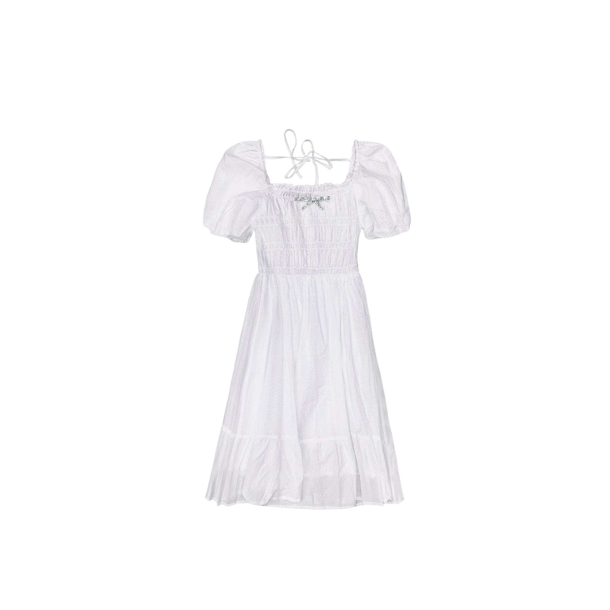 AIMME SPARROW White Bowtie Bubble Dress | MADA IN CHINA