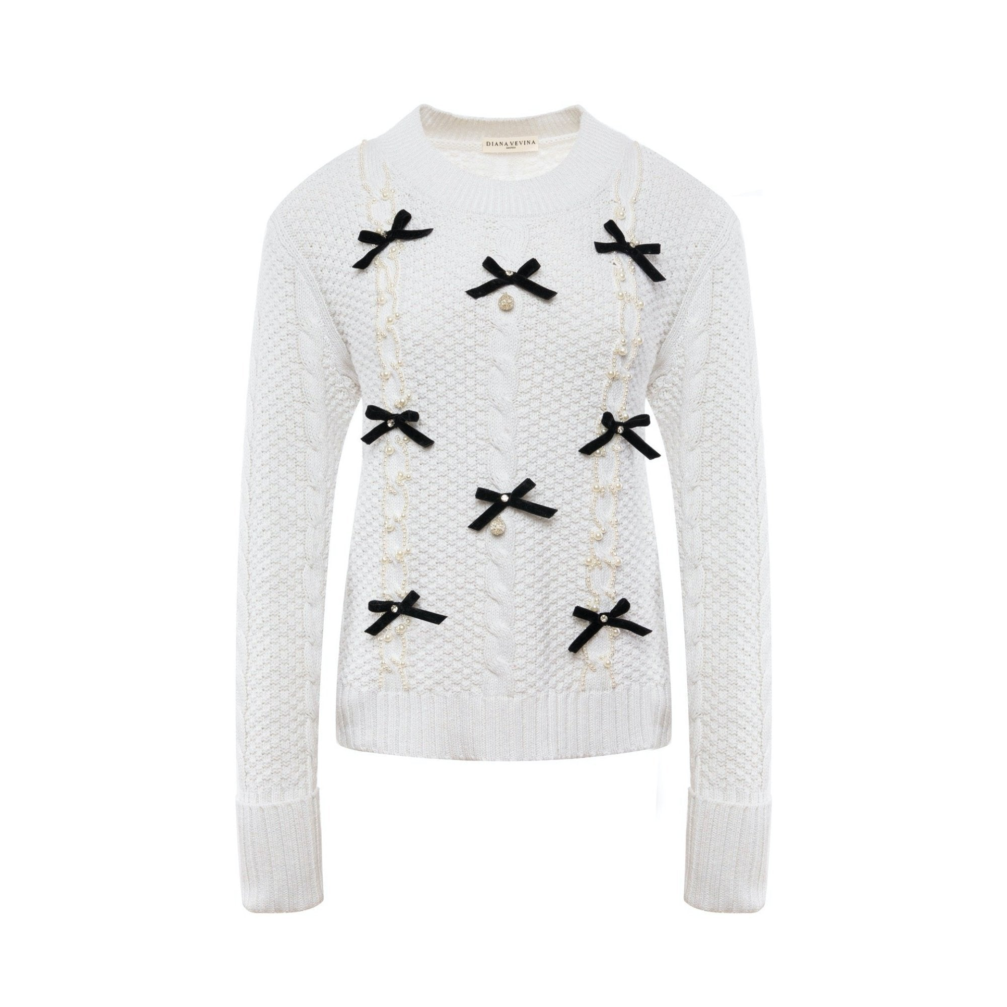 DIANA VEVINA White Bowtie Sweatshirt | MADA IN CHINA