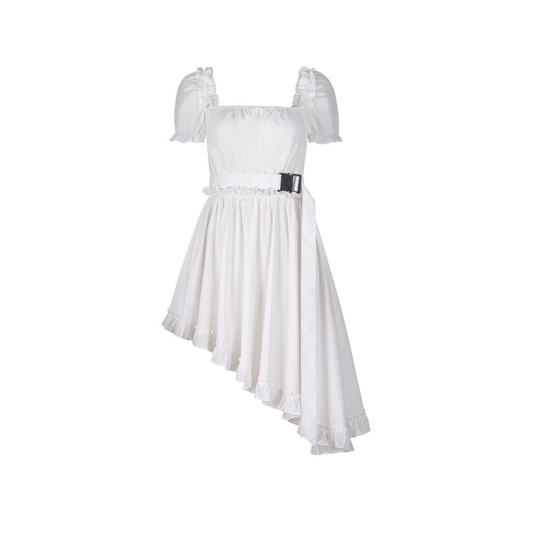 THREE QUARTERS White Bubble Sleeve Dress | MADA IN CHINA