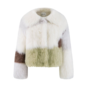 HERLIAN White Colorblock Fur Jacket | MADA IN CHINA
