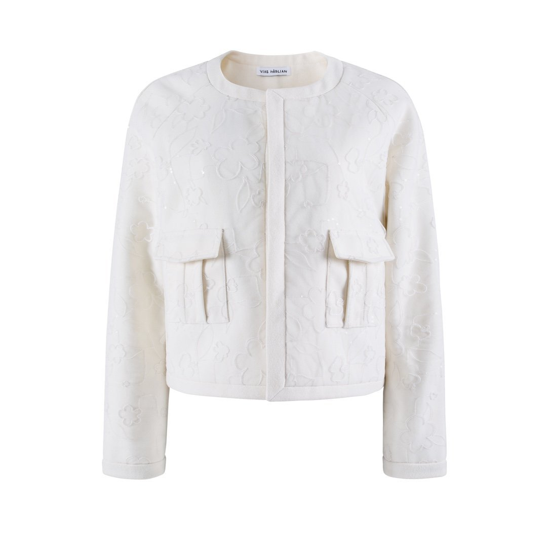 HERLIAN White Crewneck Jacquard Jacket | MADA IN CHINA