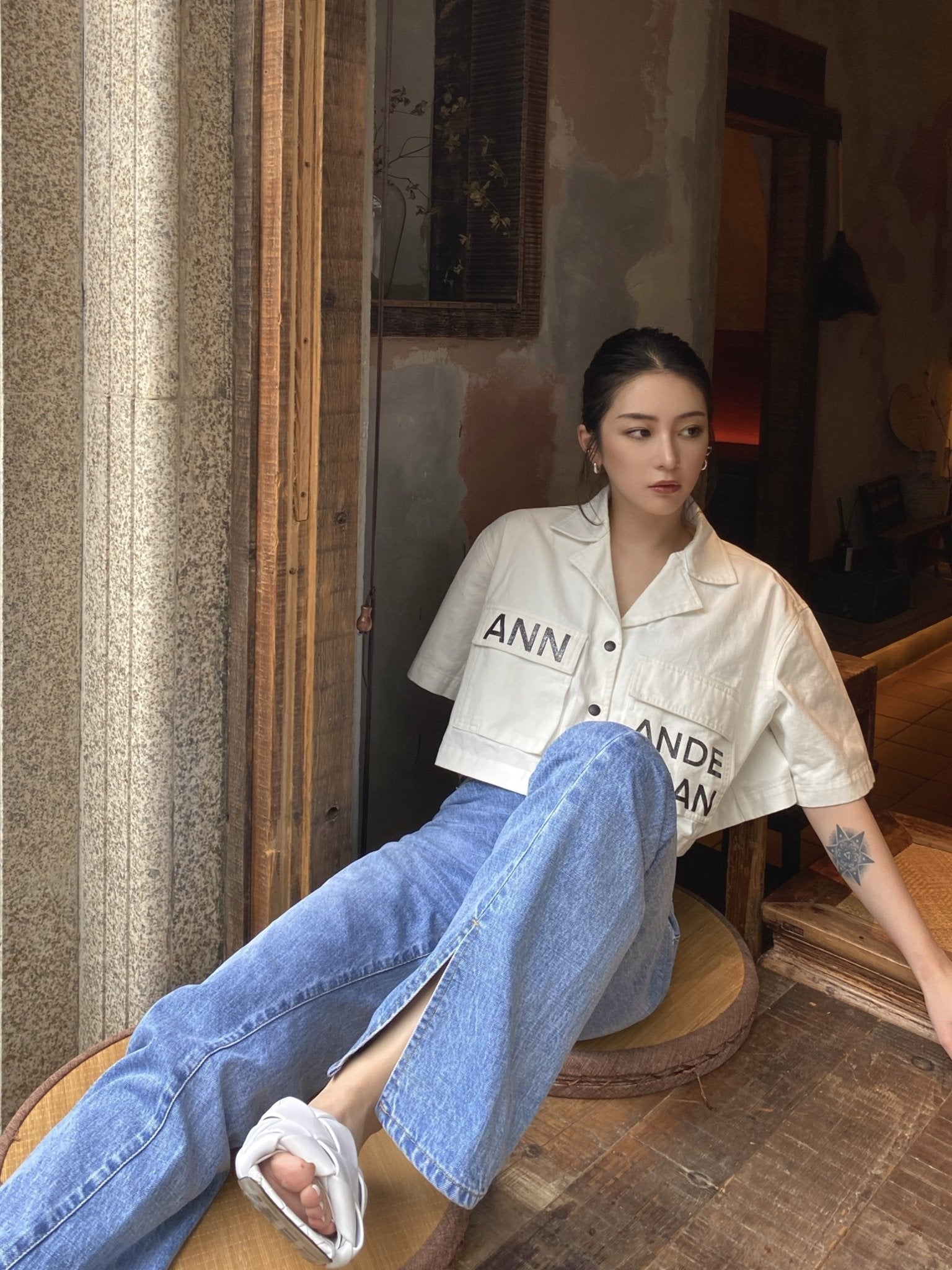 ANN ANDELMAN White Cropped Shirt | MADA IN CHINA