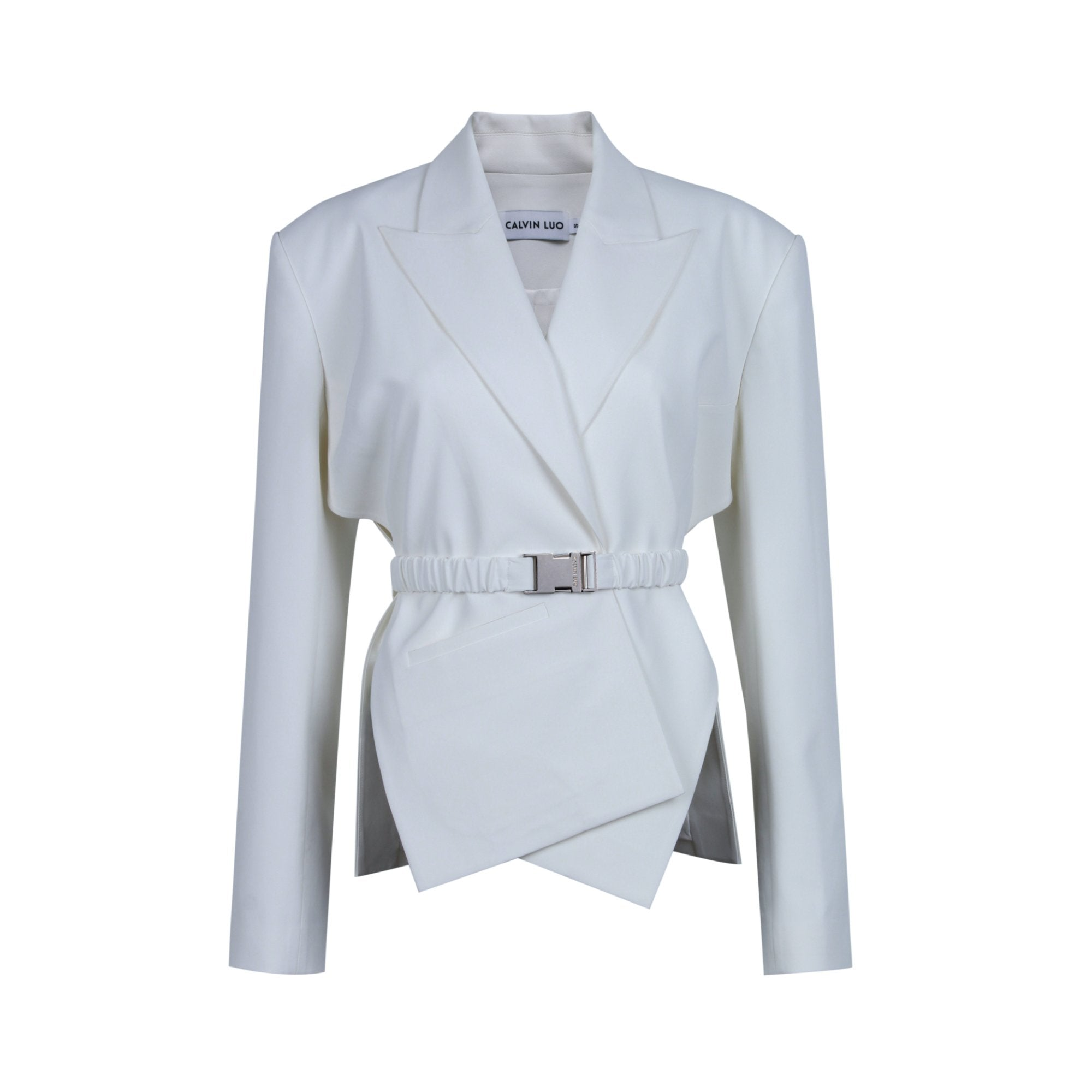 CALVIN LUO White Cross Placket Jacket | MADA IN CHINA