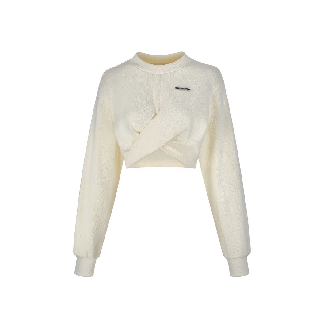 THREE QUARTERS White Cross Strap Sweater | MADA IN CHINA