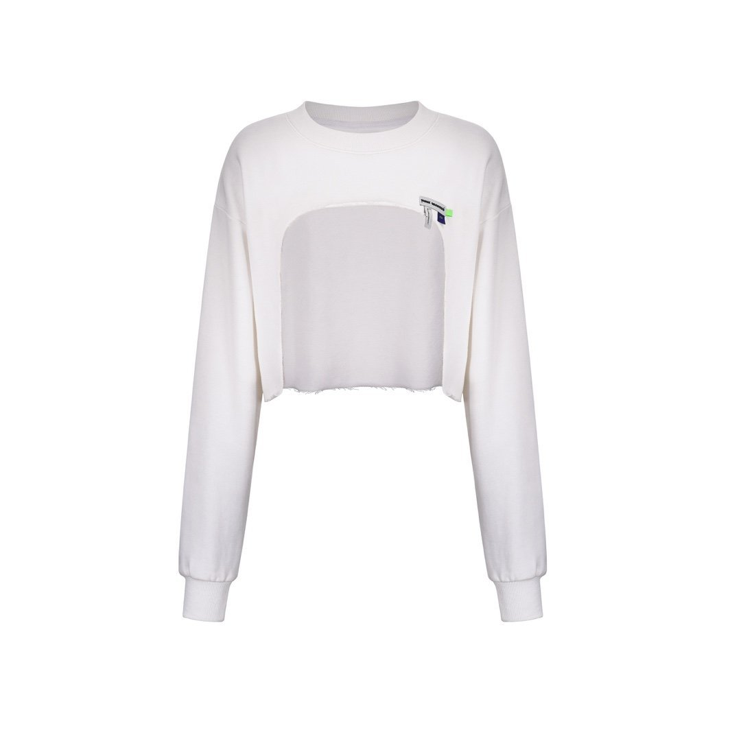 THREE QUARTERS White Cut-Out Sweater | MADA IN CHINA