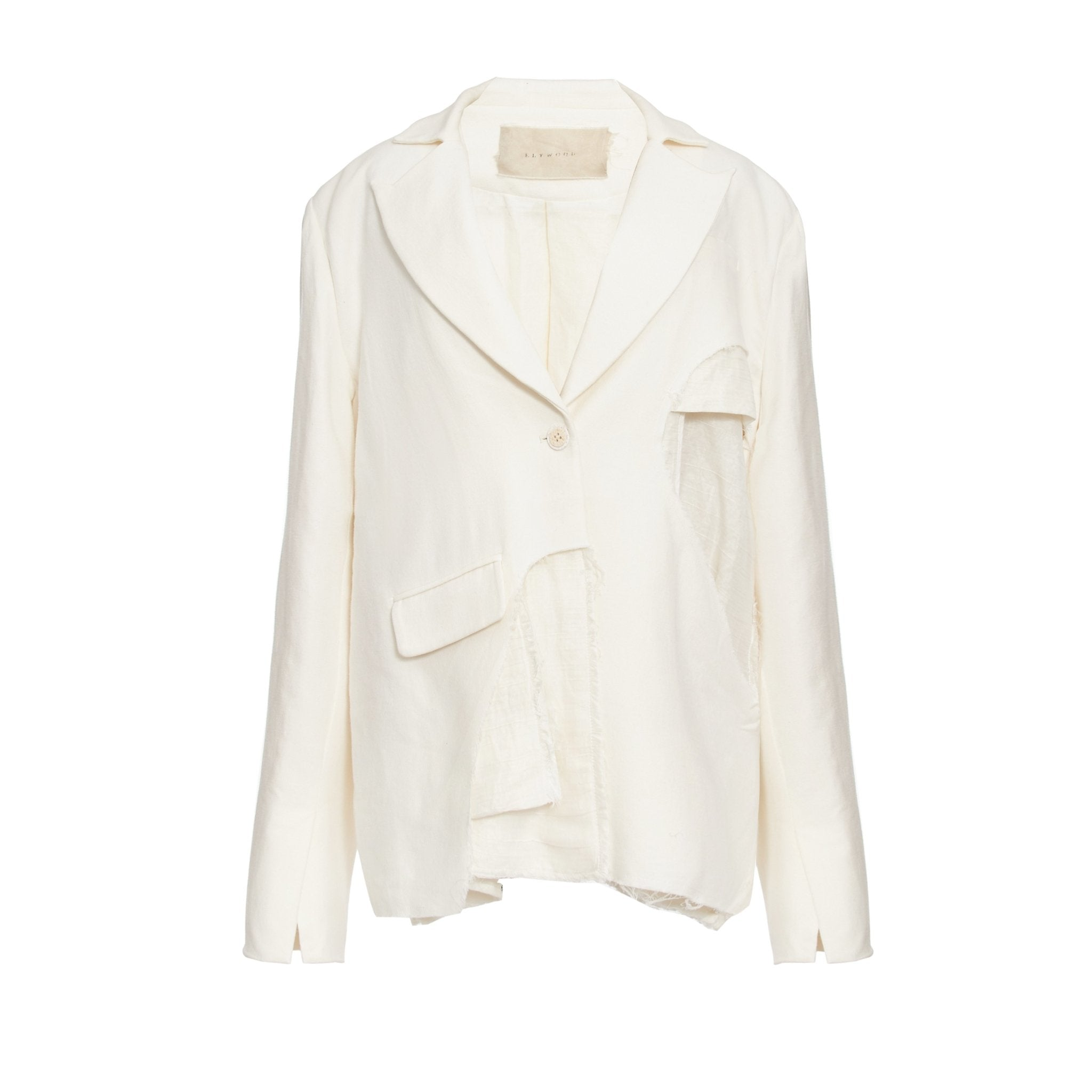 ELYWOOD White Destroyed Blazer Jacket | MADA IN CHINA