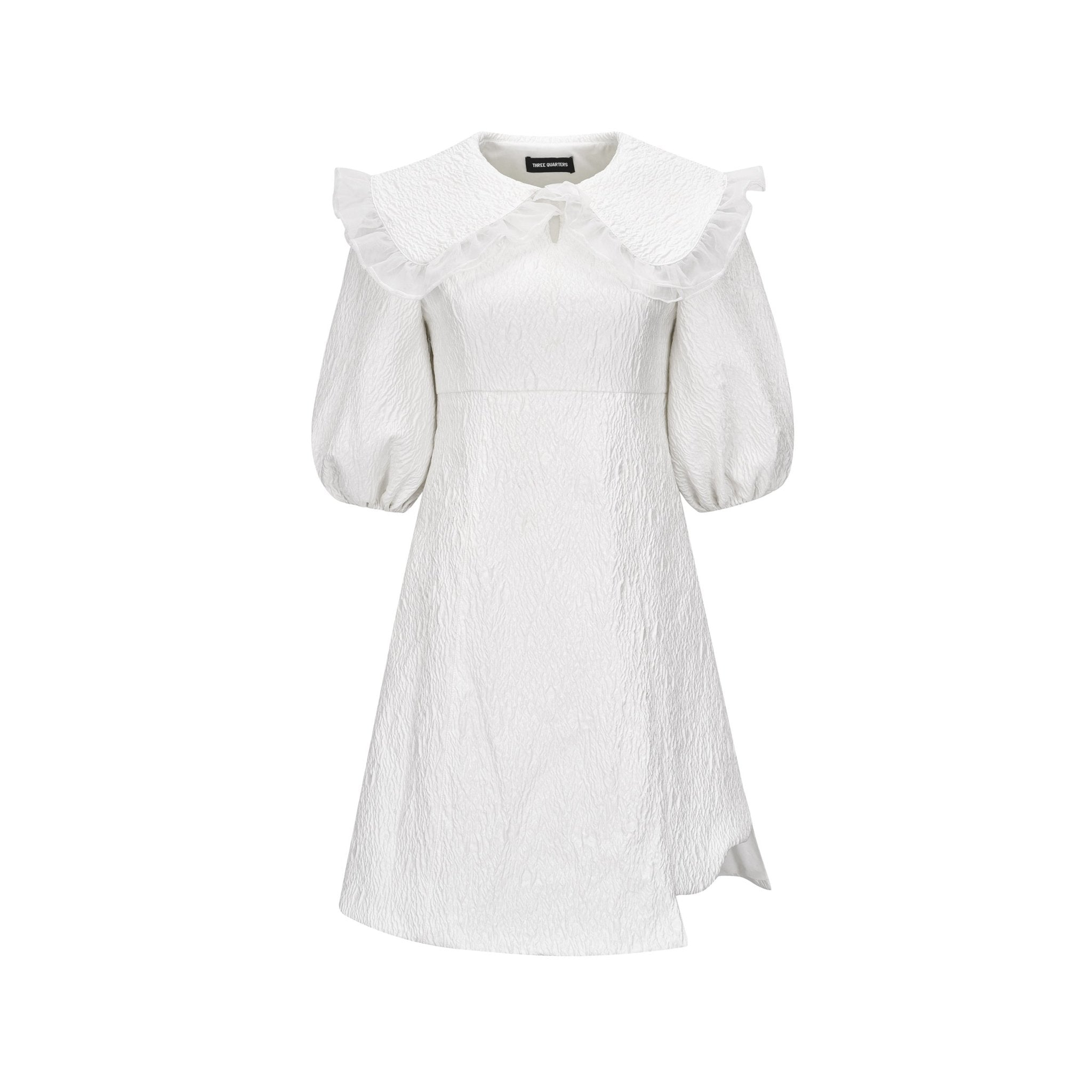 THREE QUARTERS White Doll Collar Dress | MADA IN CHINA
