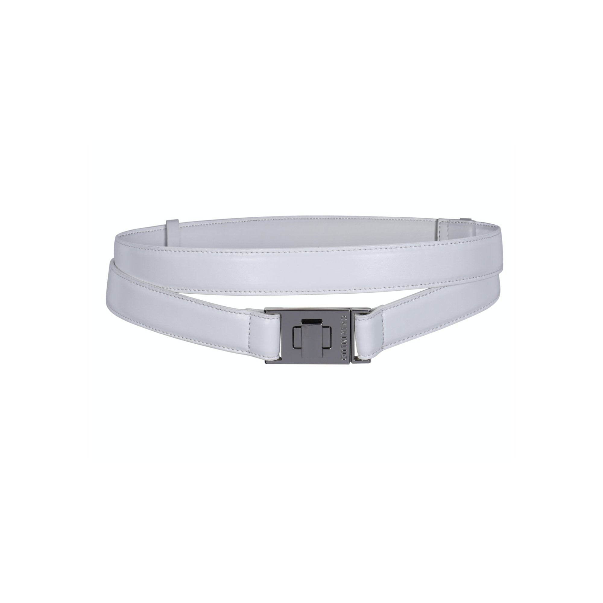 CALVIN LUO White Double Twist-Lock Wraparound Leather Belt | MADA IN CHINA