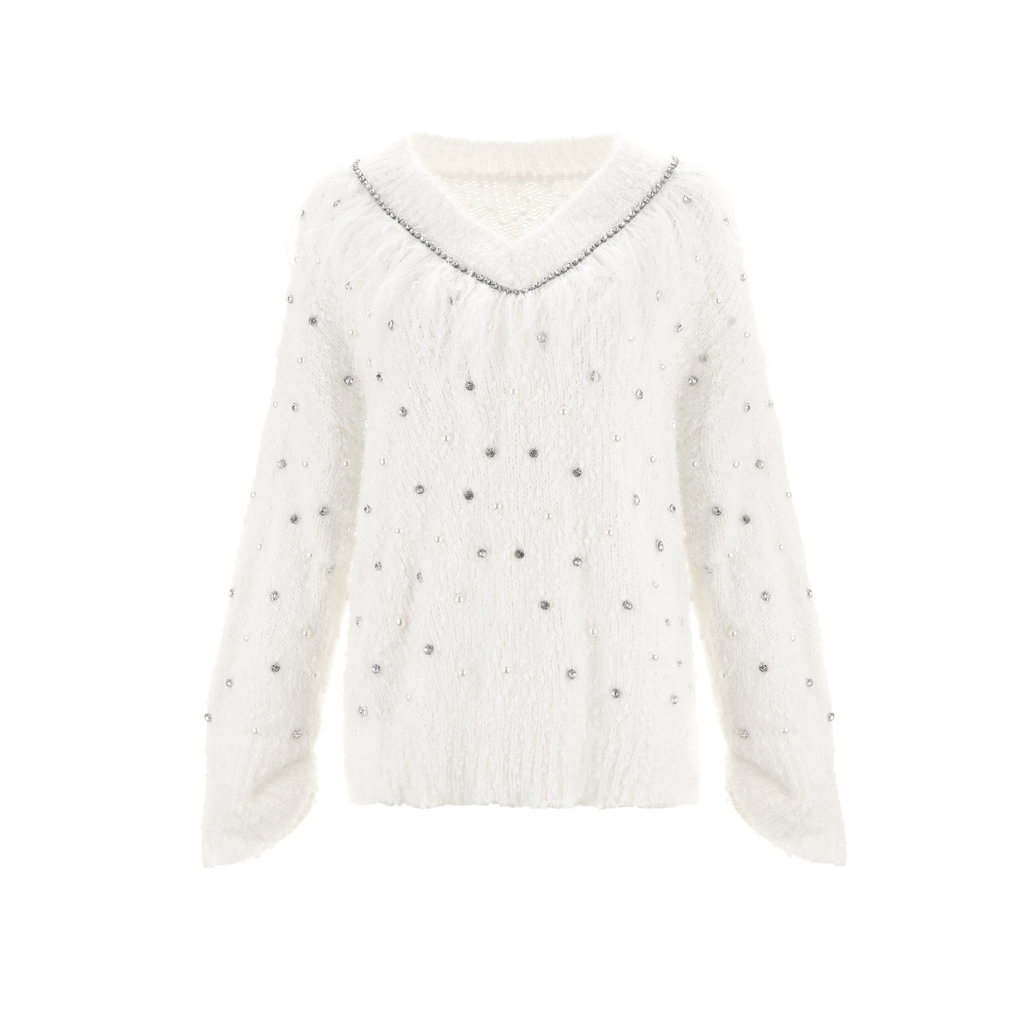 WARM AID White Feather Pearl Sweatshirt | MADA IN CHINA