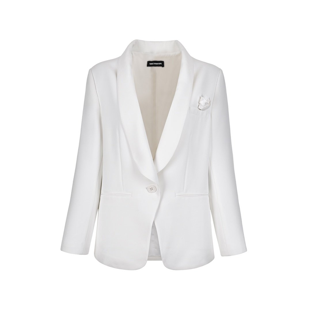 THREE QUARTERS White Flower Blazer Jacket | MADA IN CHINA