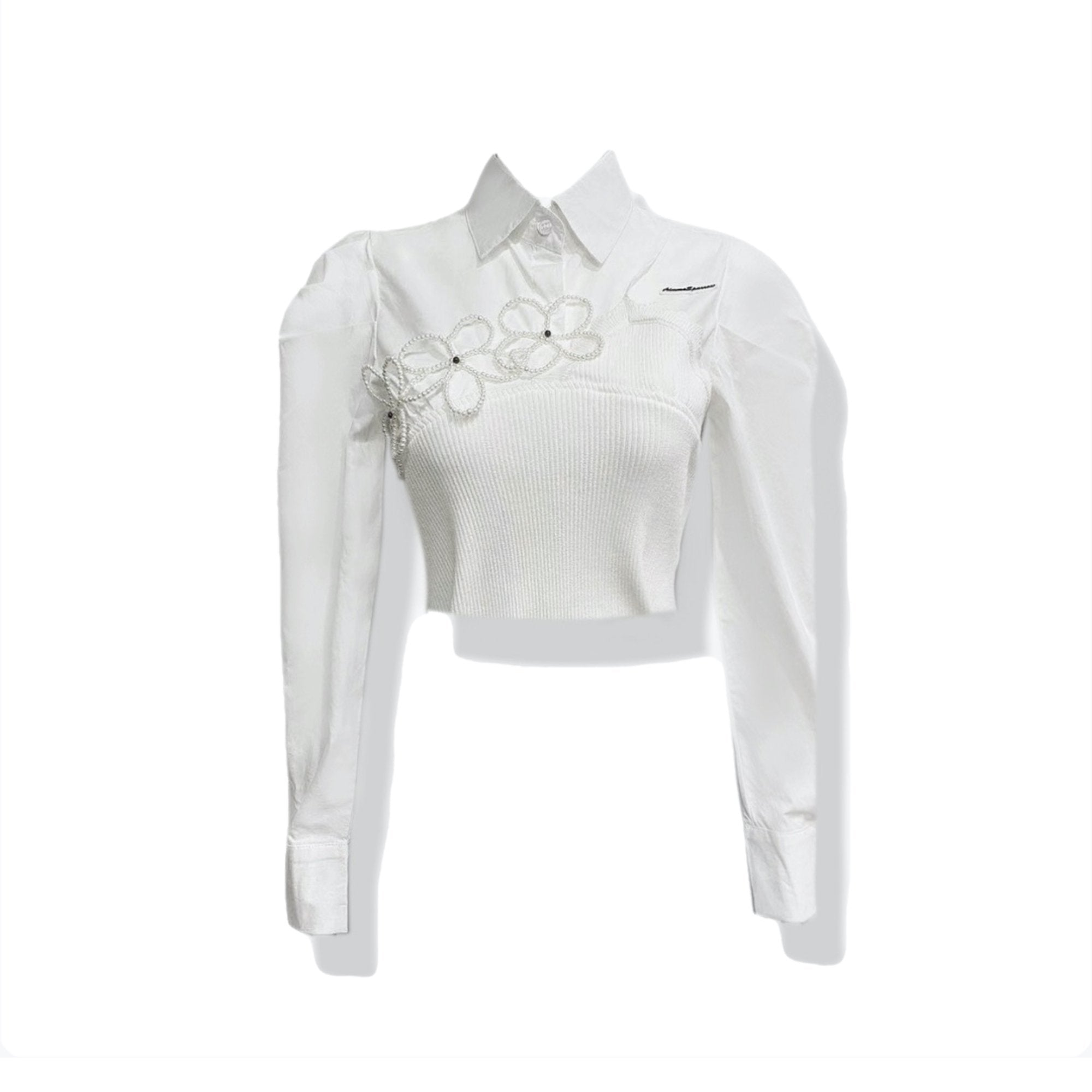 AIMME SPARROW White Flower Bubble Sleeve Shirt | MADA IN CHINA