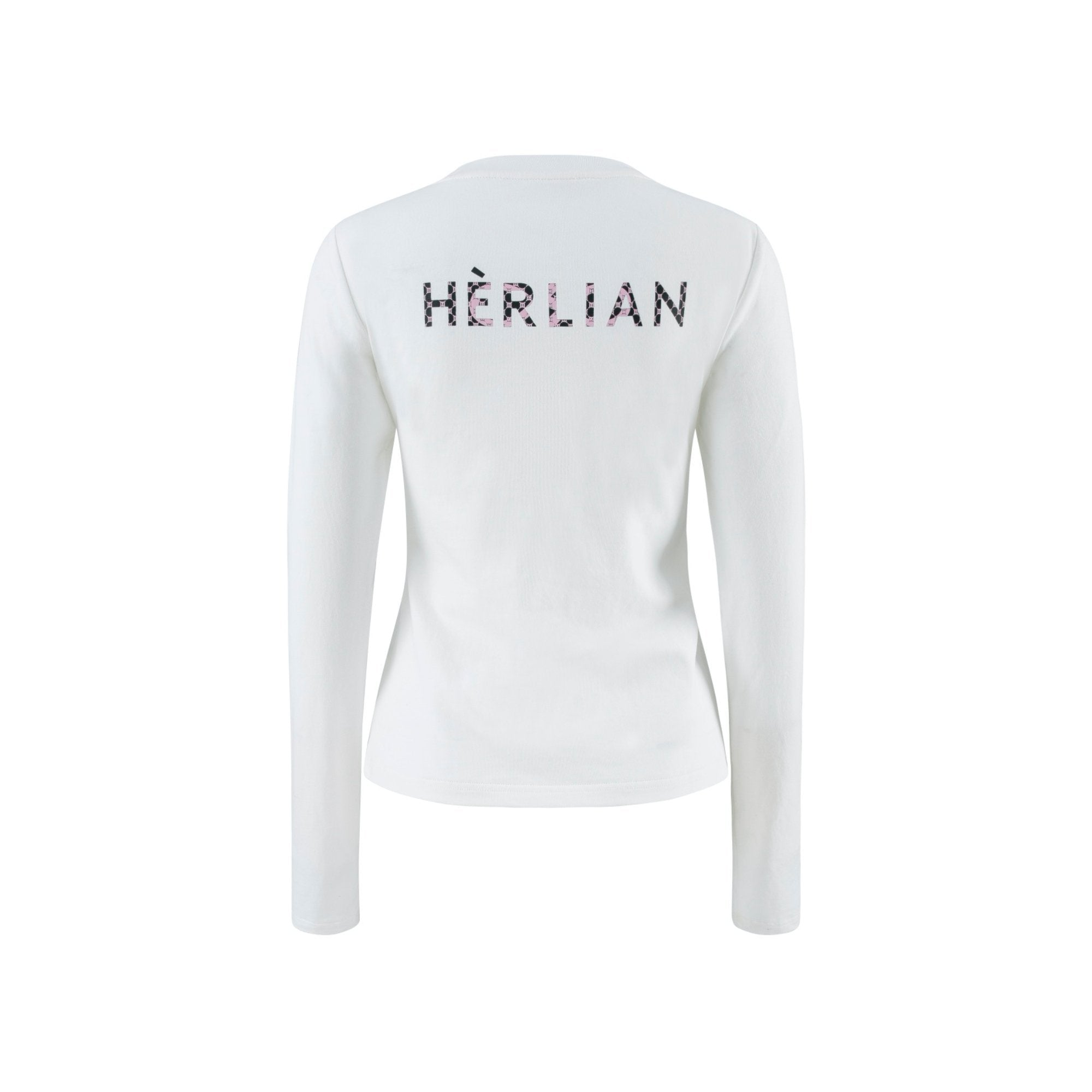 HERLIAN White Gradient Logo Long Sleeve Tee | MADA IN CHINA