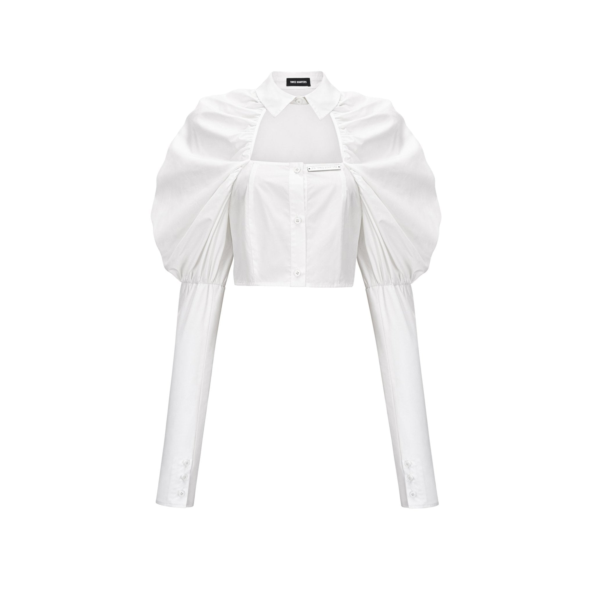 THREE QUARTERS White Hollow Out Puff Sleeve Shirt | MADA IN CHINA