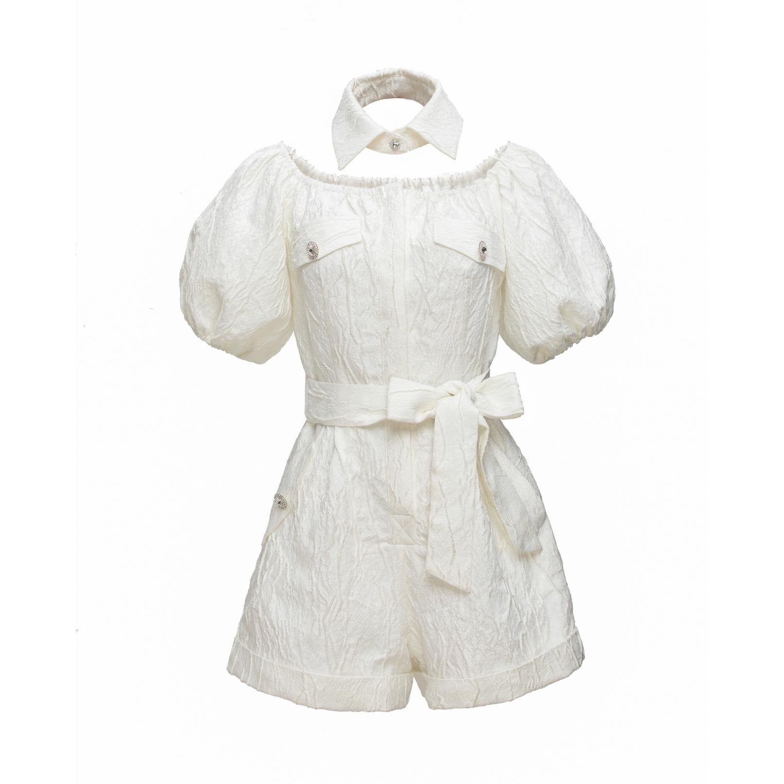 WARM AID White Jacquard Bodysuits | MADA IN CHINA