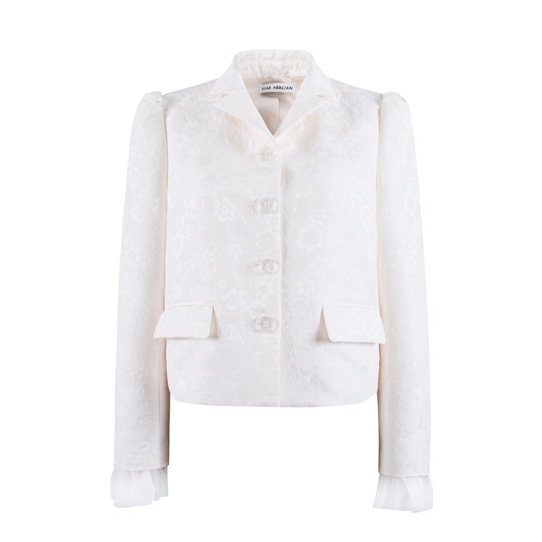 HERLIAN White Jacquard Jacket | MADA IN CHINA