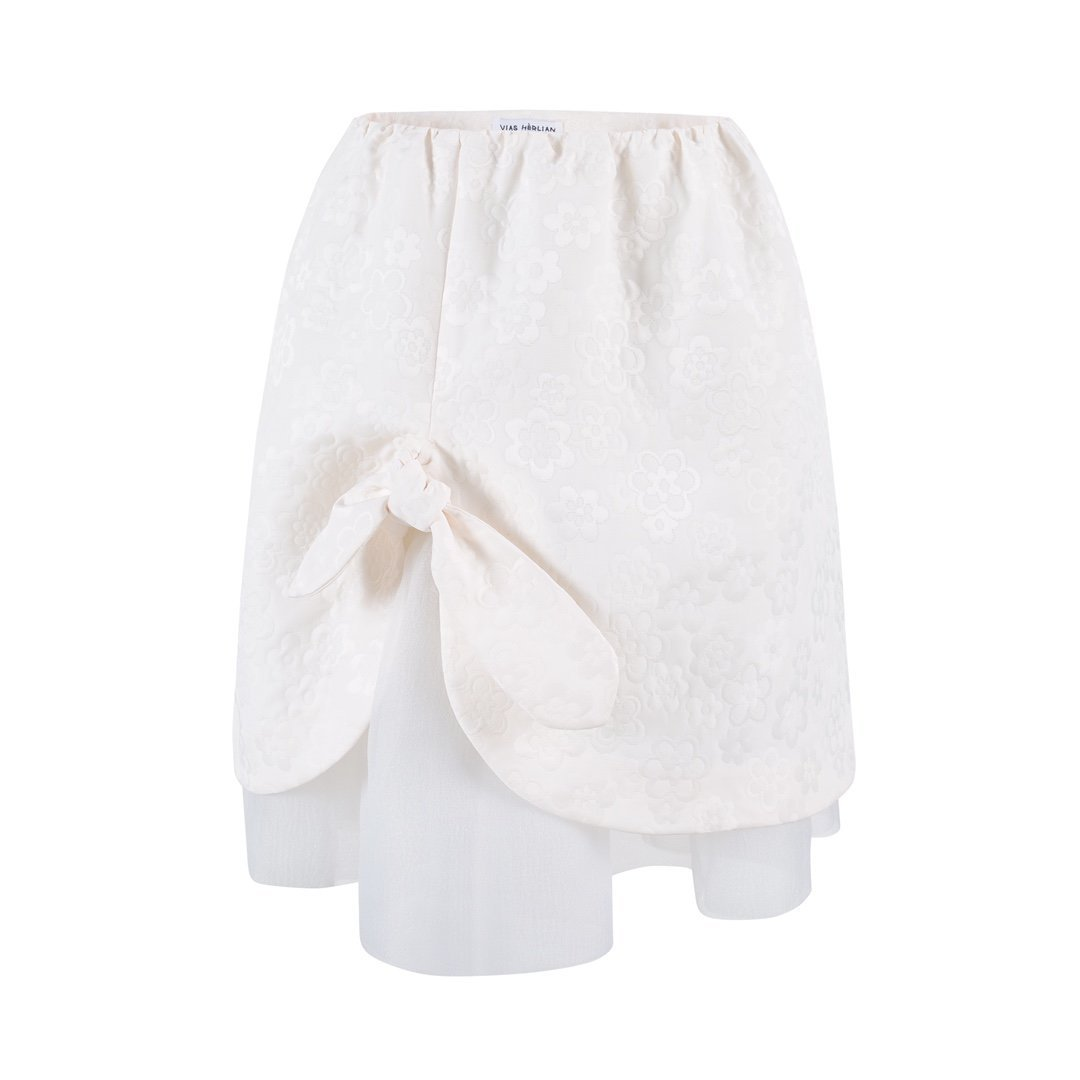 HERLIAN White Jacquard Skirt | MADA IN CHINA