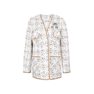 SASA MAX White Knitted Diamond Jacket | MADA IN CHINA