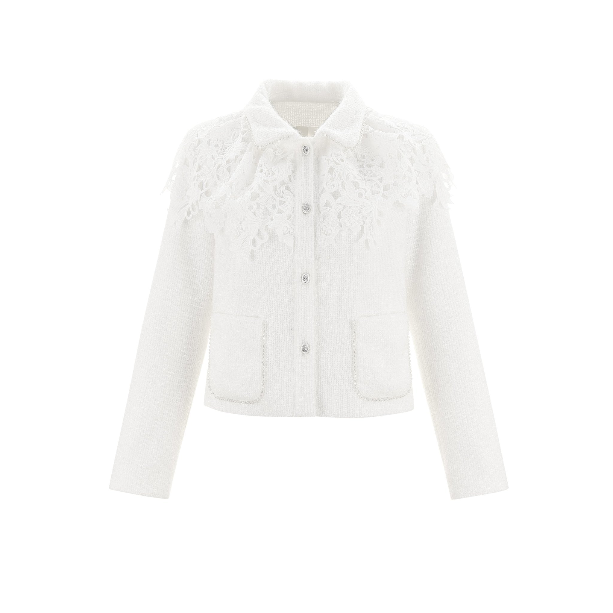WARM AID White Lace Blazer Jacket | MADA IN CHINA