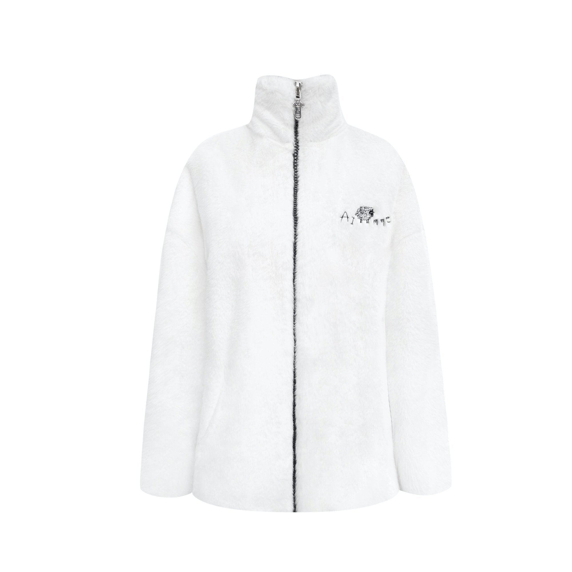 AIMME SPARROW White Little Sheep Printed Fur Jacket | MADA IN CHINA