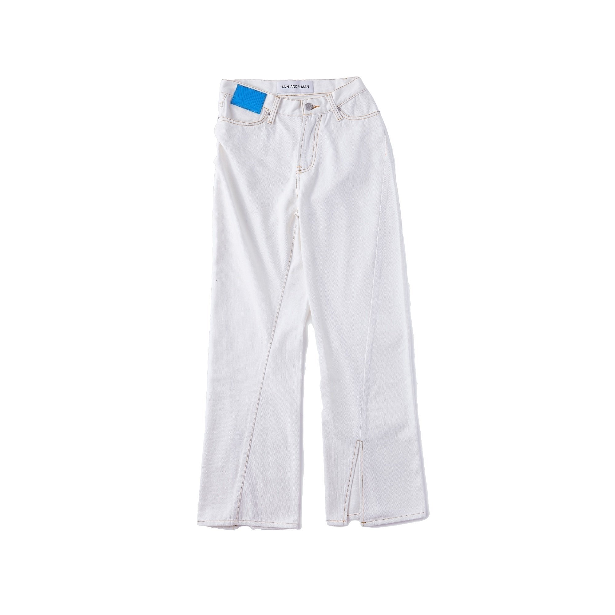 ANN ANDELMAN White Lizard Patch Jeans | MADA IN CHINA