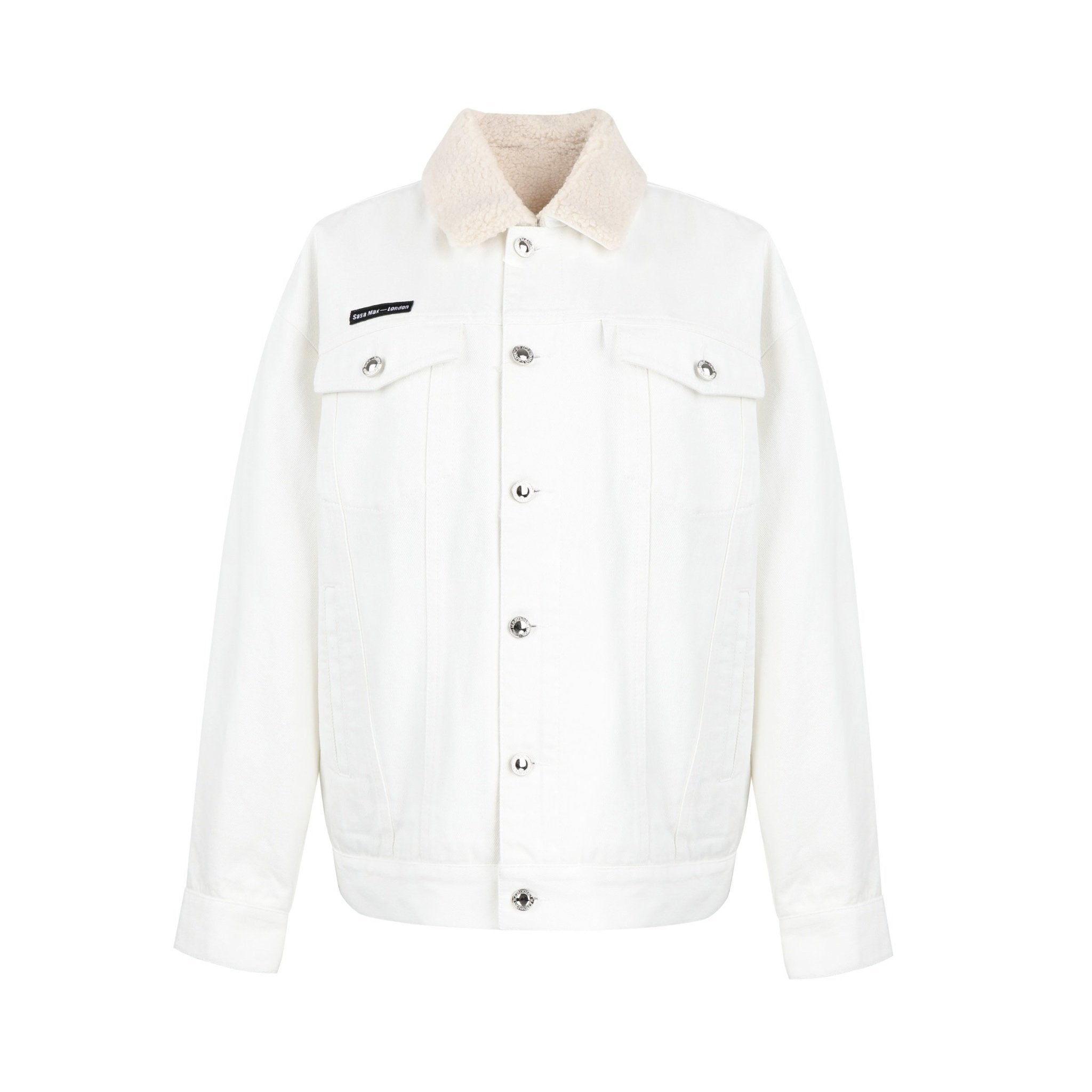 SASA MAX White Logo Wool Jacket | MADA IN CHINA