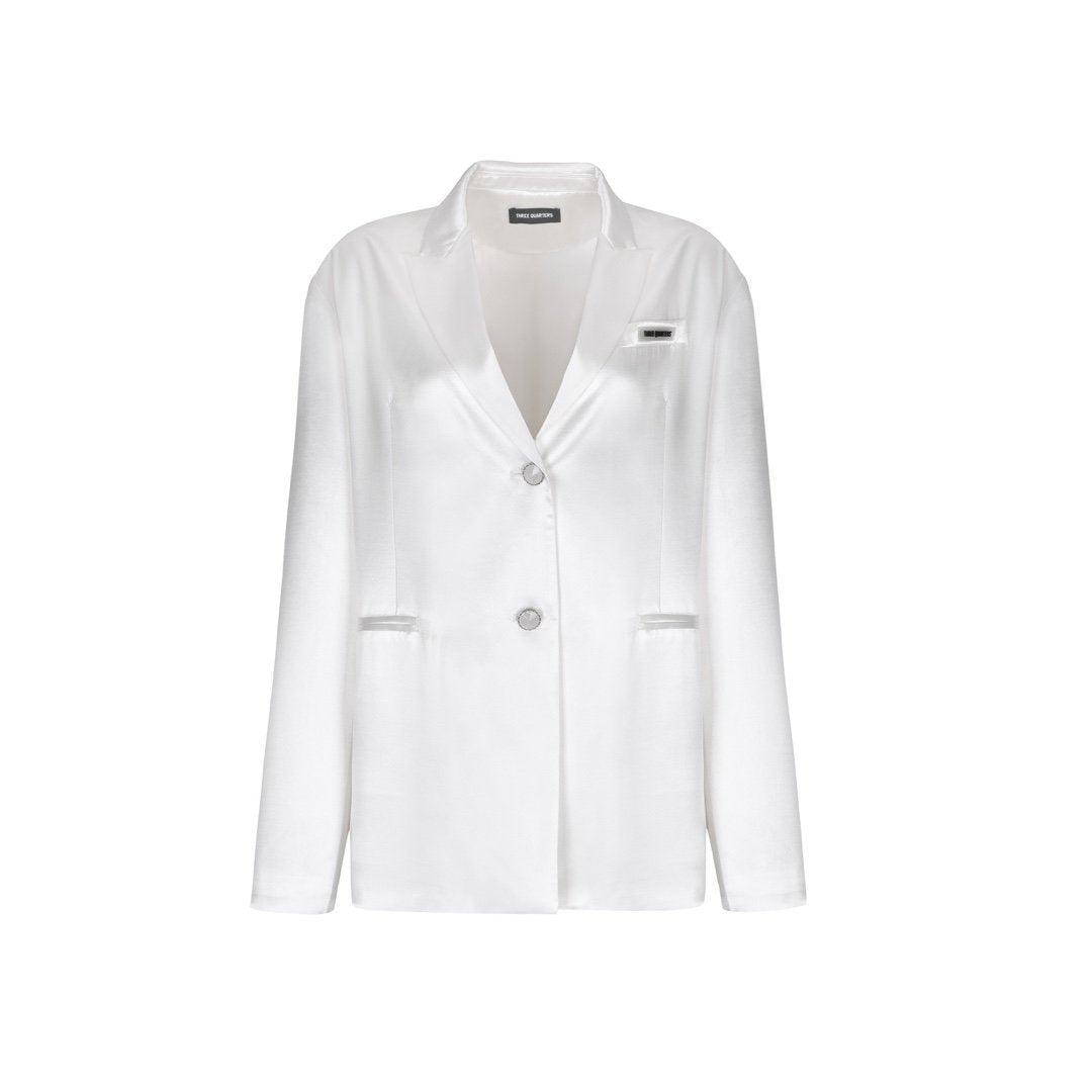 THREE QUARTERS White Mercerized Jacket | MADA IN CHINA