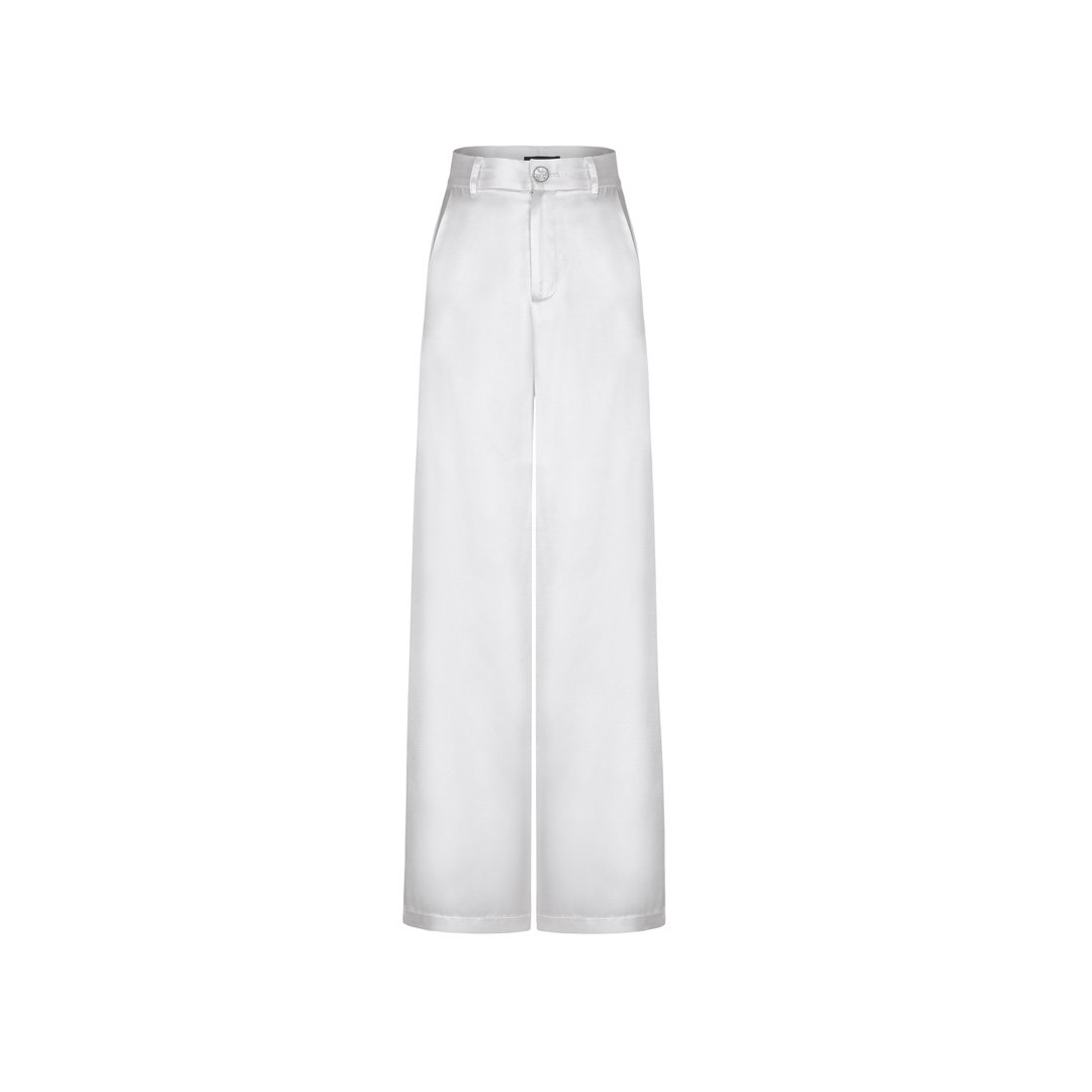 THREE QUARTERS White Mercerized Pants | MADA IN CHINA