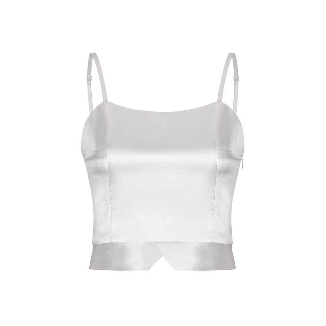 THREE QUARTERS White Mercerized Vest | MADA IN CHINA