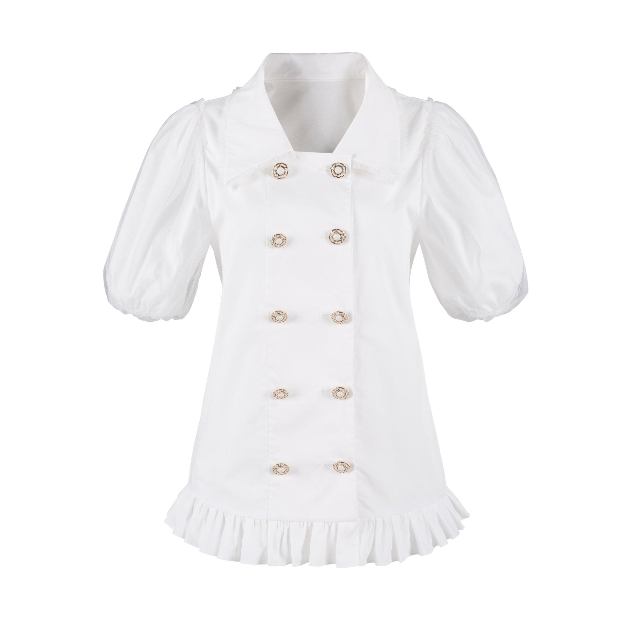 VIAS HERLIAN White Mesh Bubble Sleeve Shirt | MADA IN CHINA