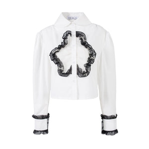 VIAS HERLIAN White Mesh Flower Shirt | MADA IN CHINA