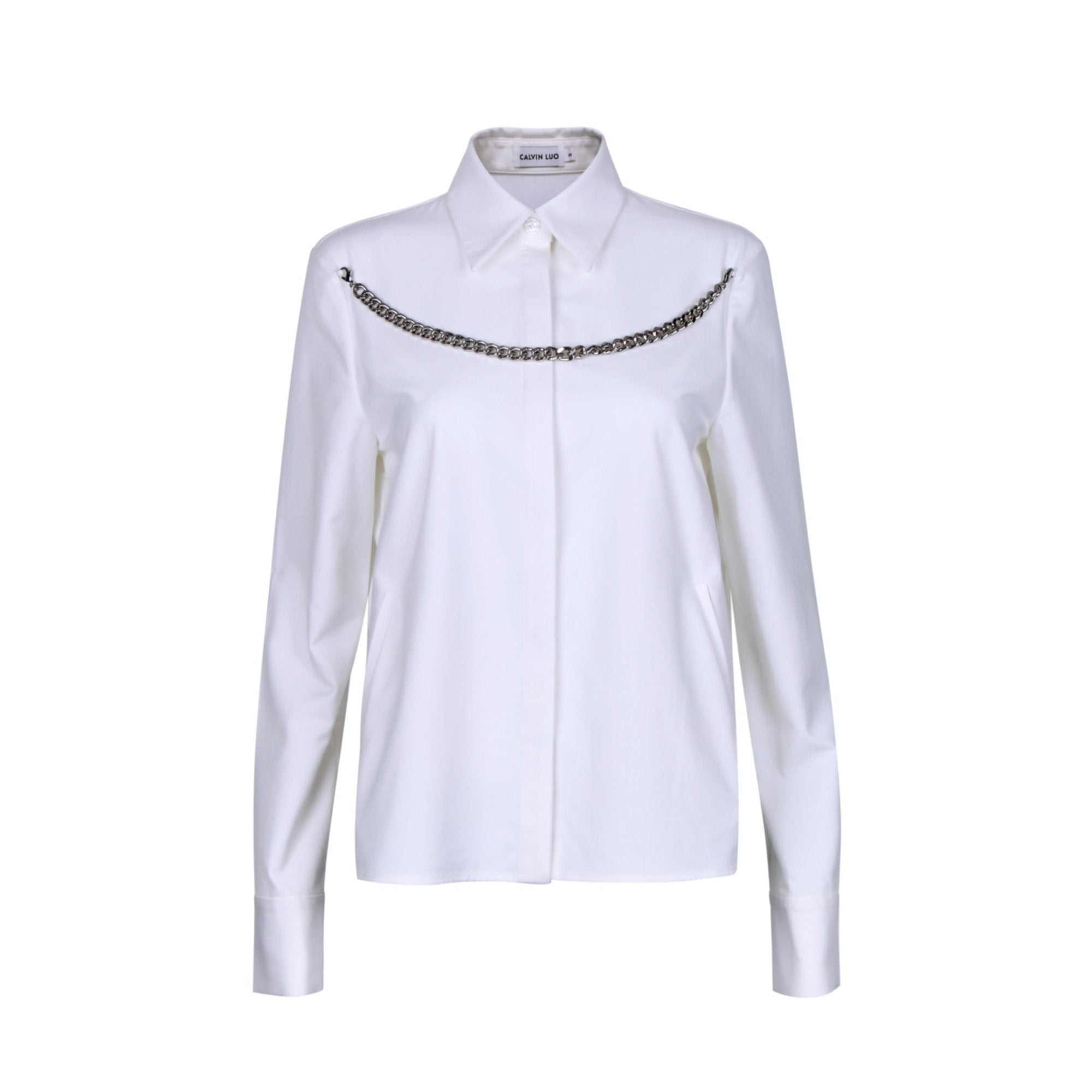 CALVIN LUO White Metal Chain Shirt | MADA IN CHINA