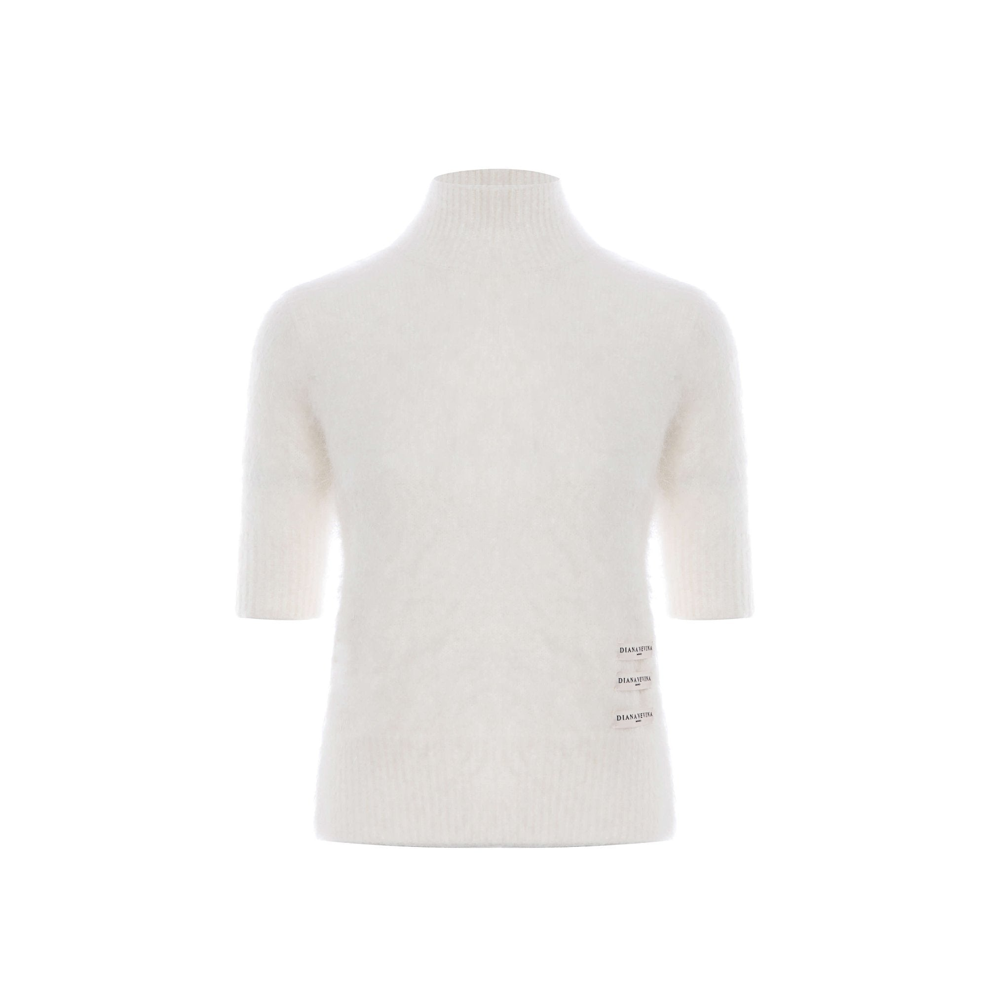 DIANA VEVINA White Mohair Turtleneck Sweatshirt | MADA IN CHINA