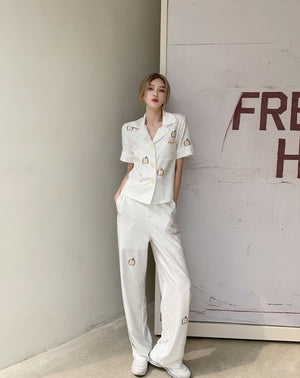 HERLIAN White Overlay Print Pants | MADA IN CHINA