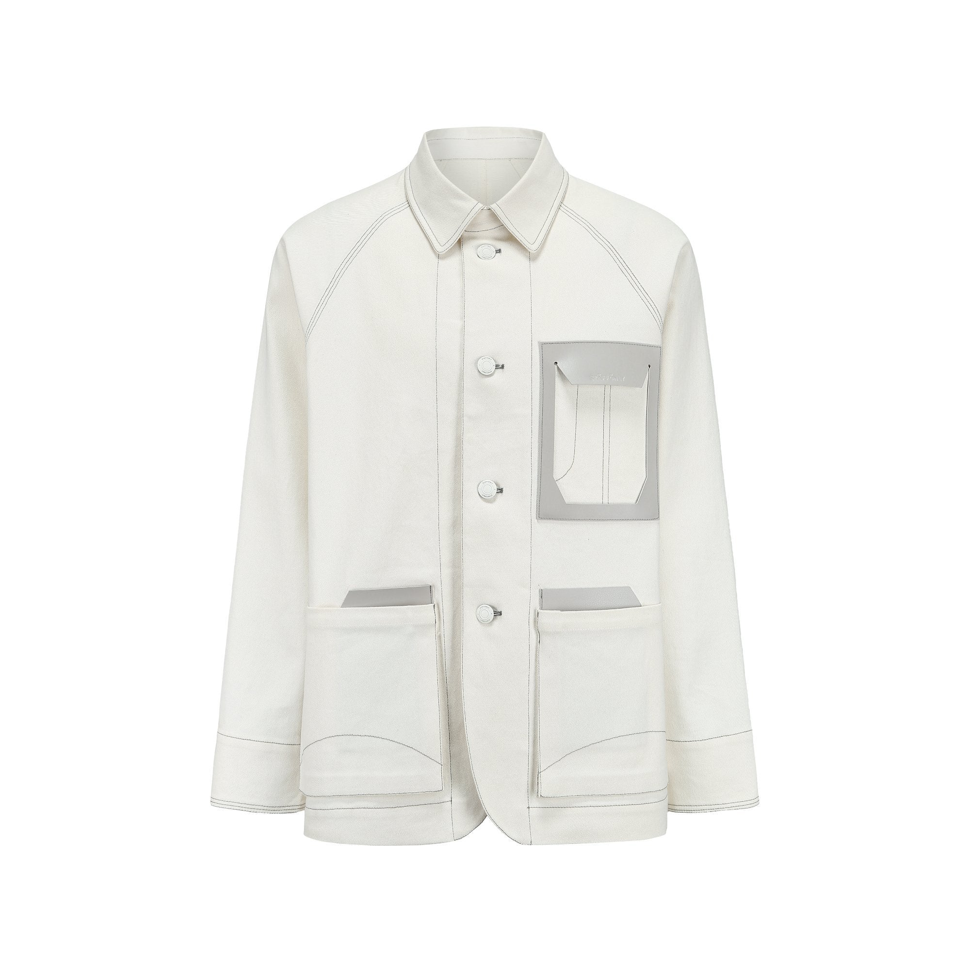 STAFF ONLY White Oversize Pocket Denim Jacket | MADA IN CHINA