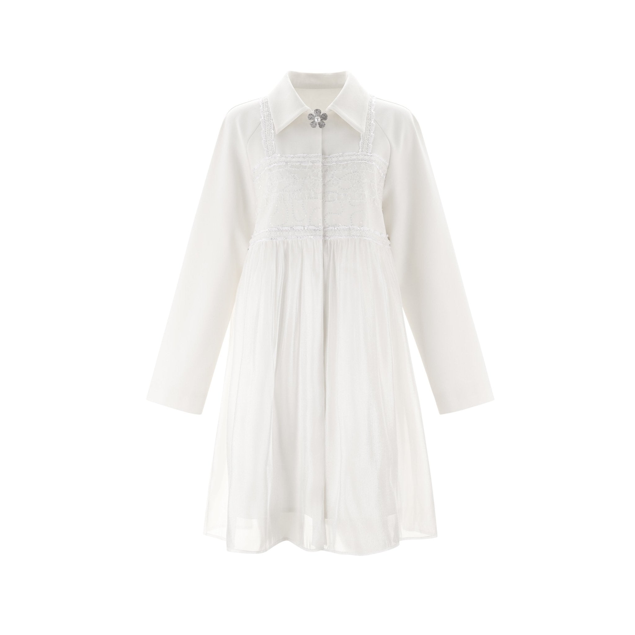 WARM AID White Panelled Mesh Dress | MADA IN CHINA