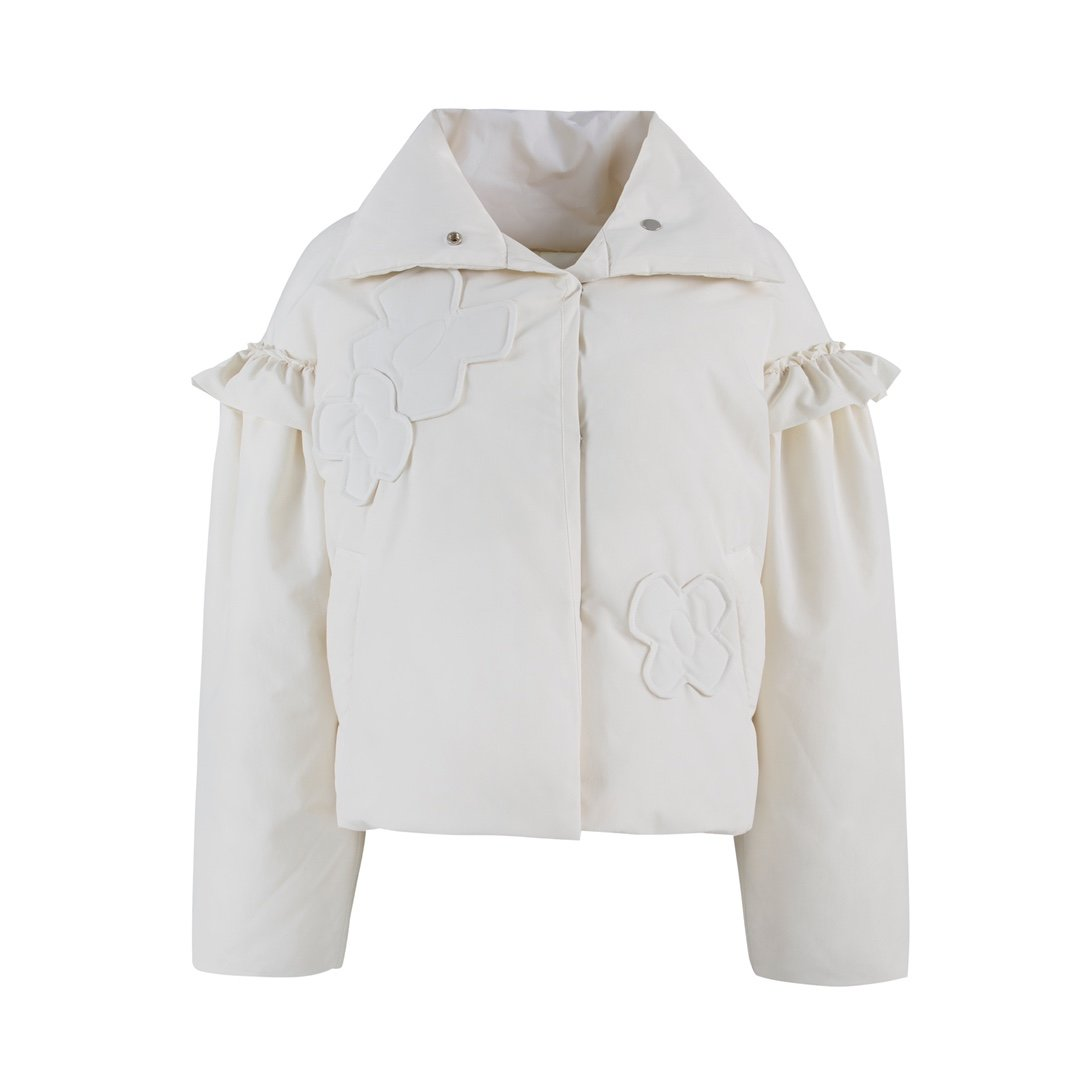 VIAS HERLIAN White Patched Flower Puff Jacket | MADA IN CHINA