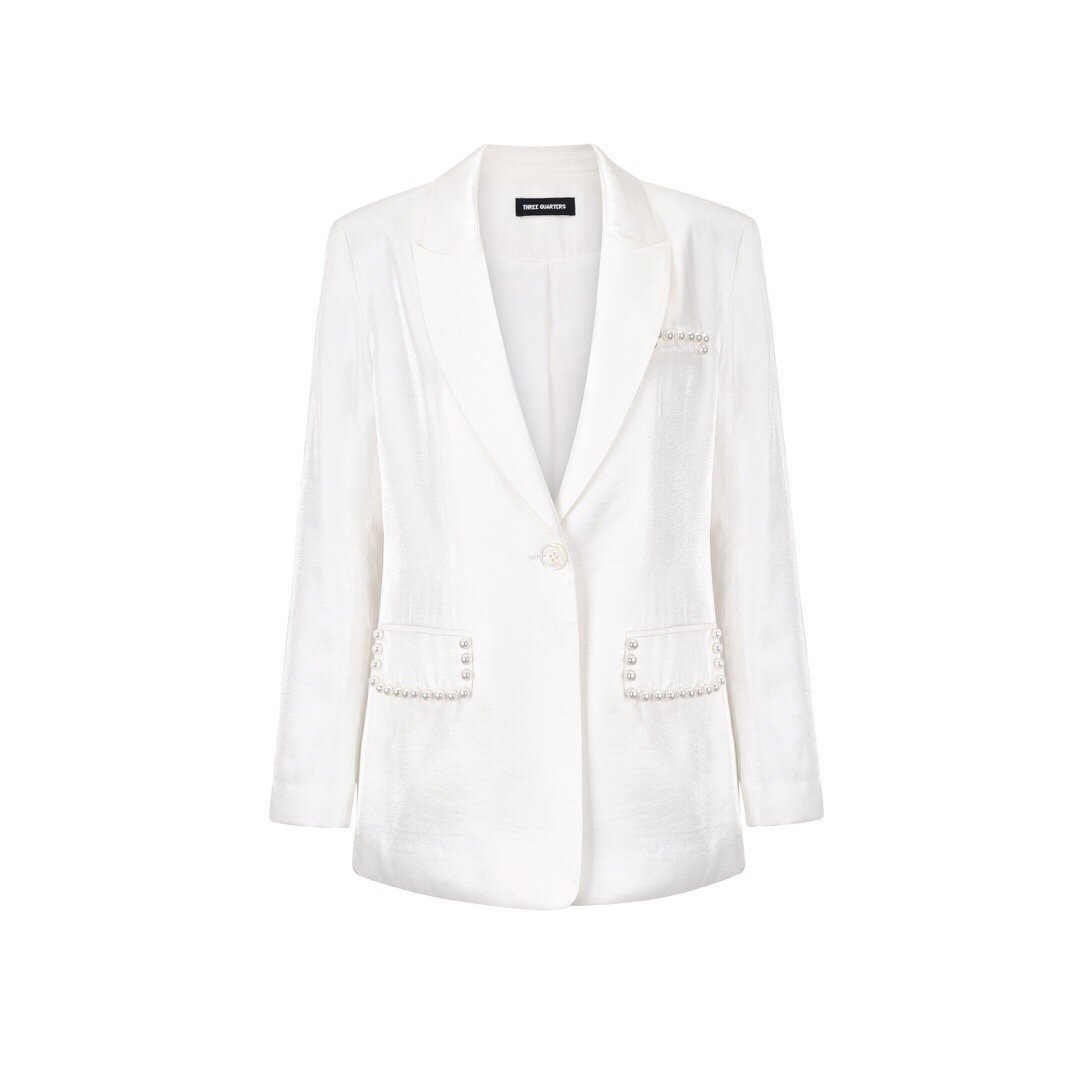 THREE QUARTERS White Pearl Pocket Suit | MADA IN CHINA