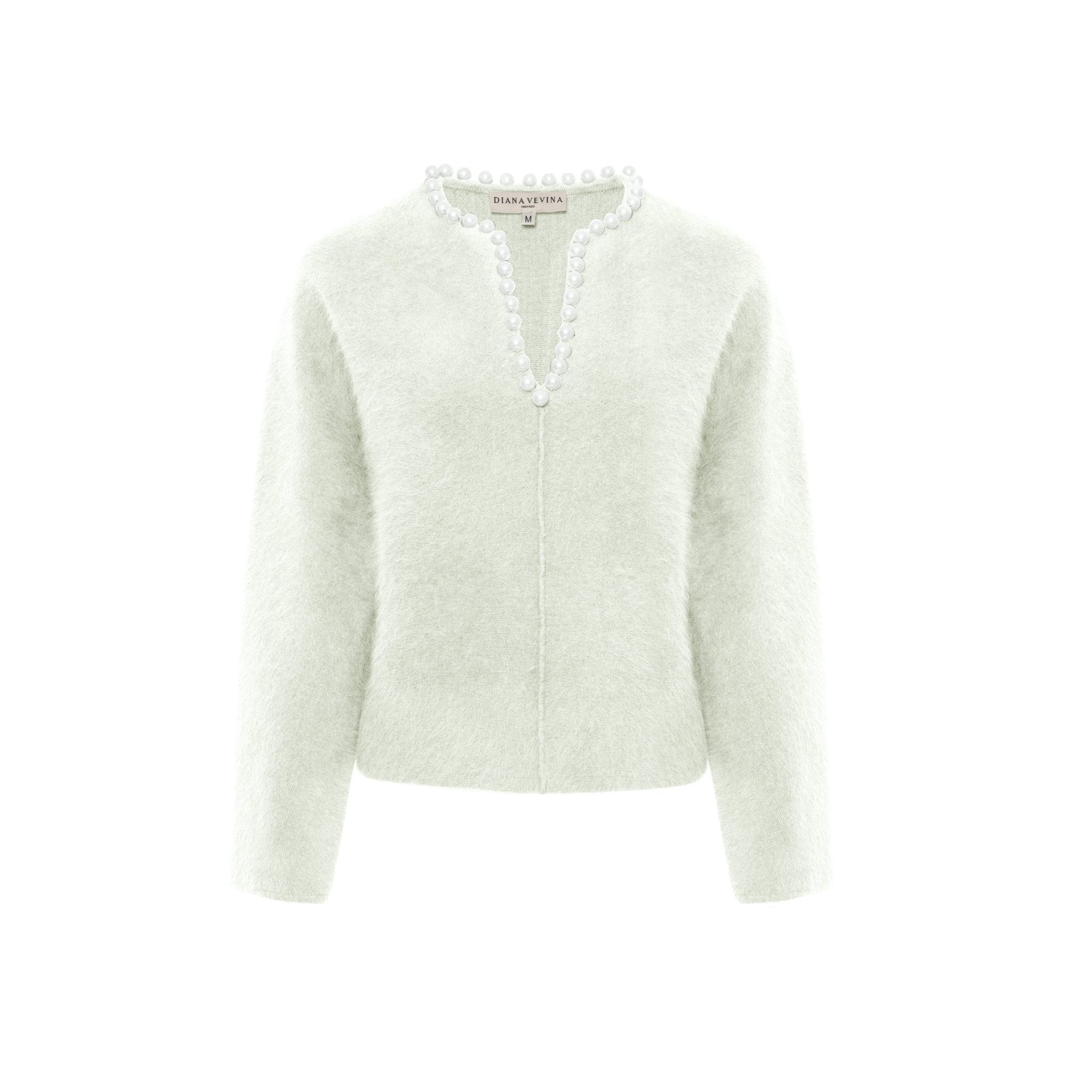 DIANA VEVINA White Pearl V-Neck Sweatshirt | MADA IN CHINA