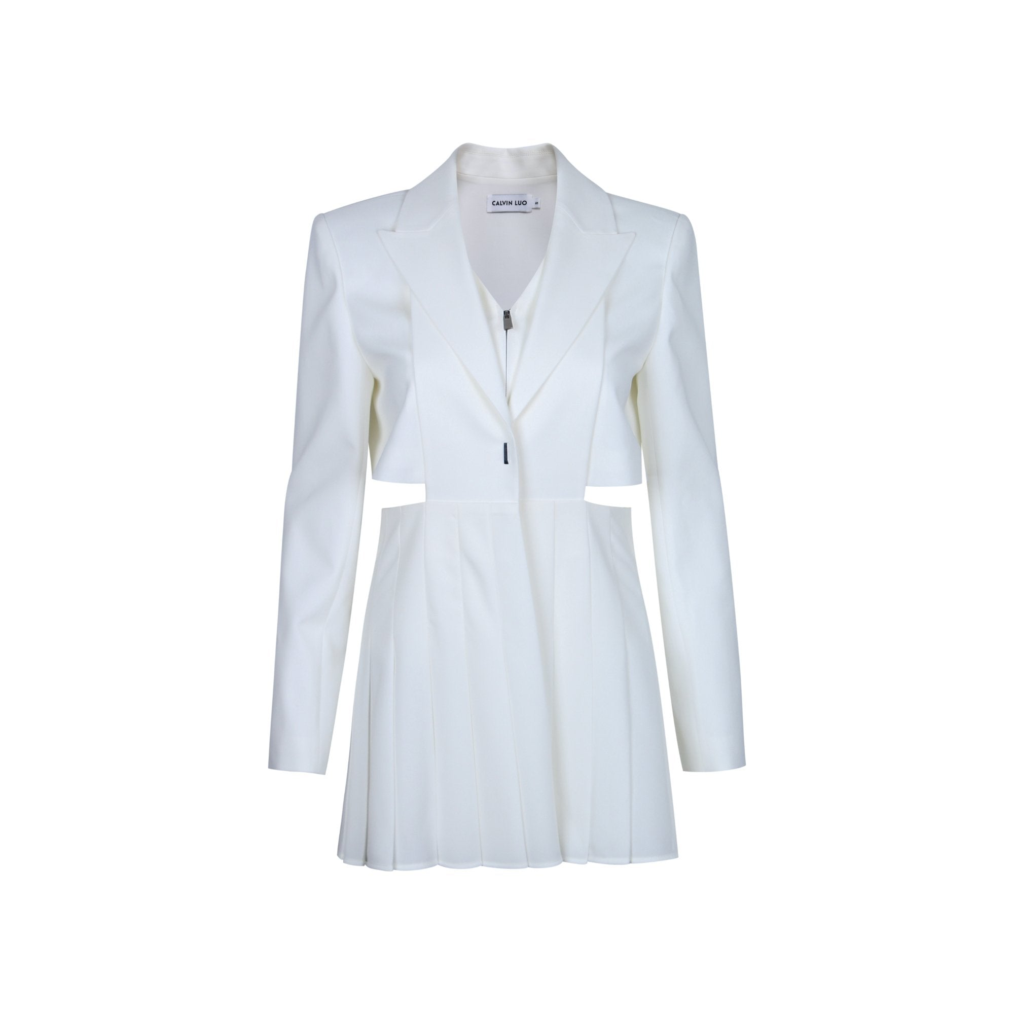 CALVIN LUO White Pleated Suit Set | MADA IN CHINA